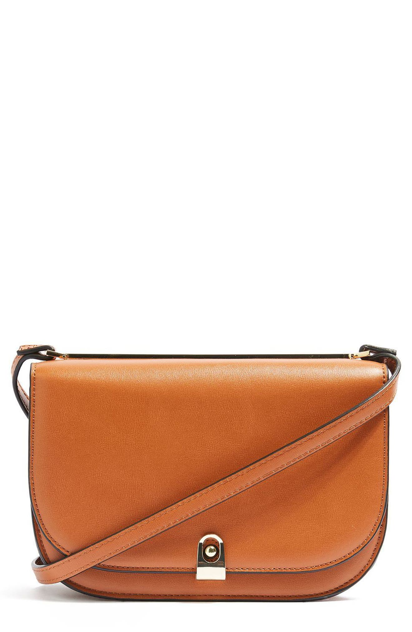 Topshop Oxford Faux Leather Crossbody Saddle Bag