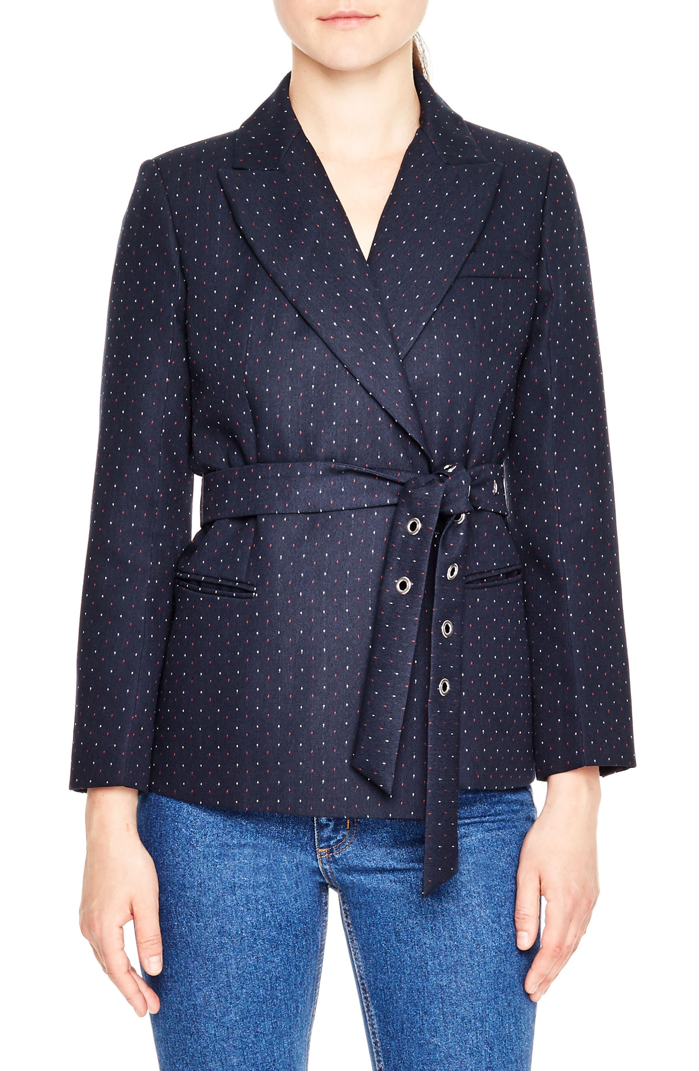 sandro Polka Dot Belted Jacket