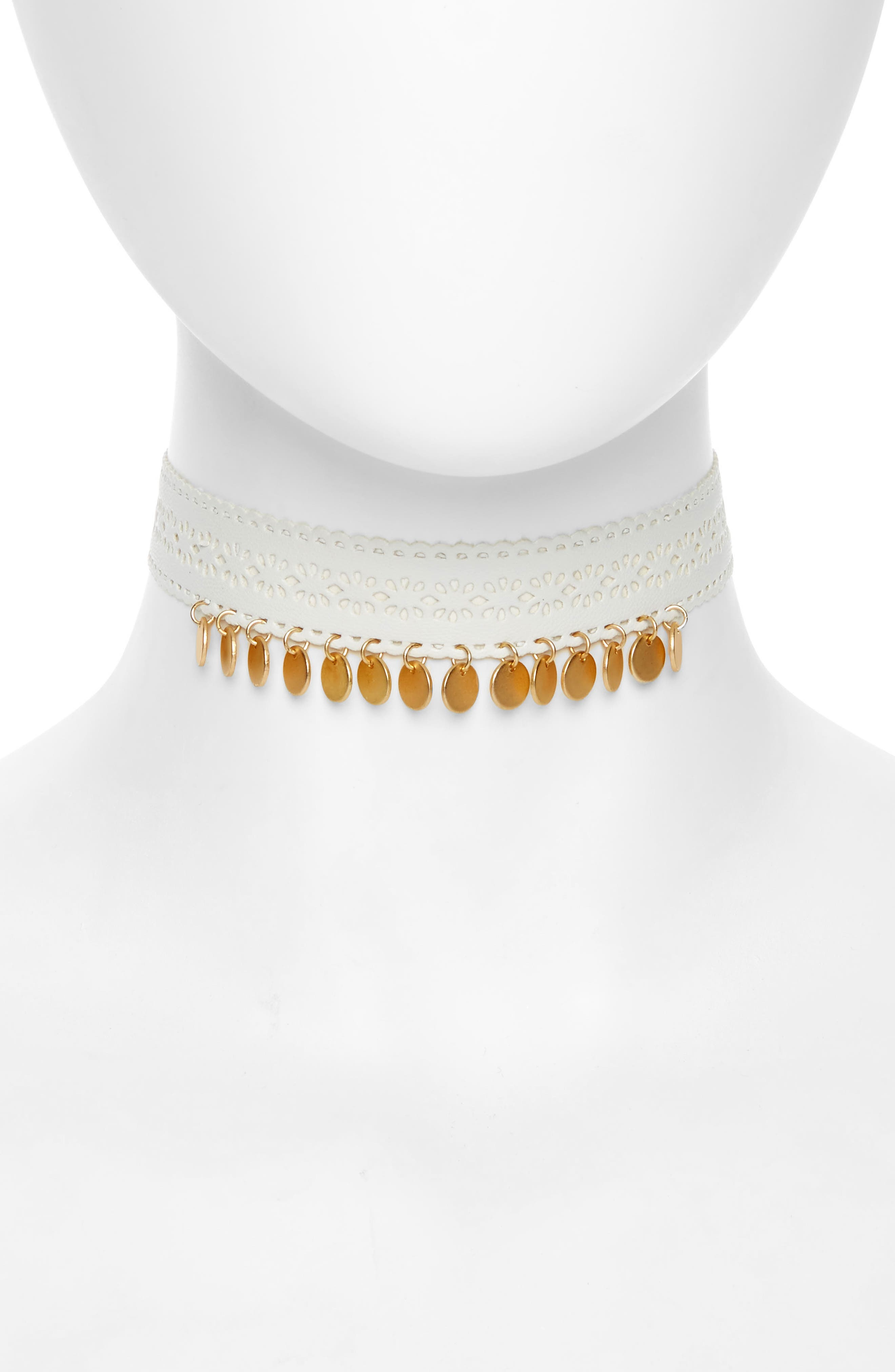 Topshop Leather Cutout & Disc Leather Choker