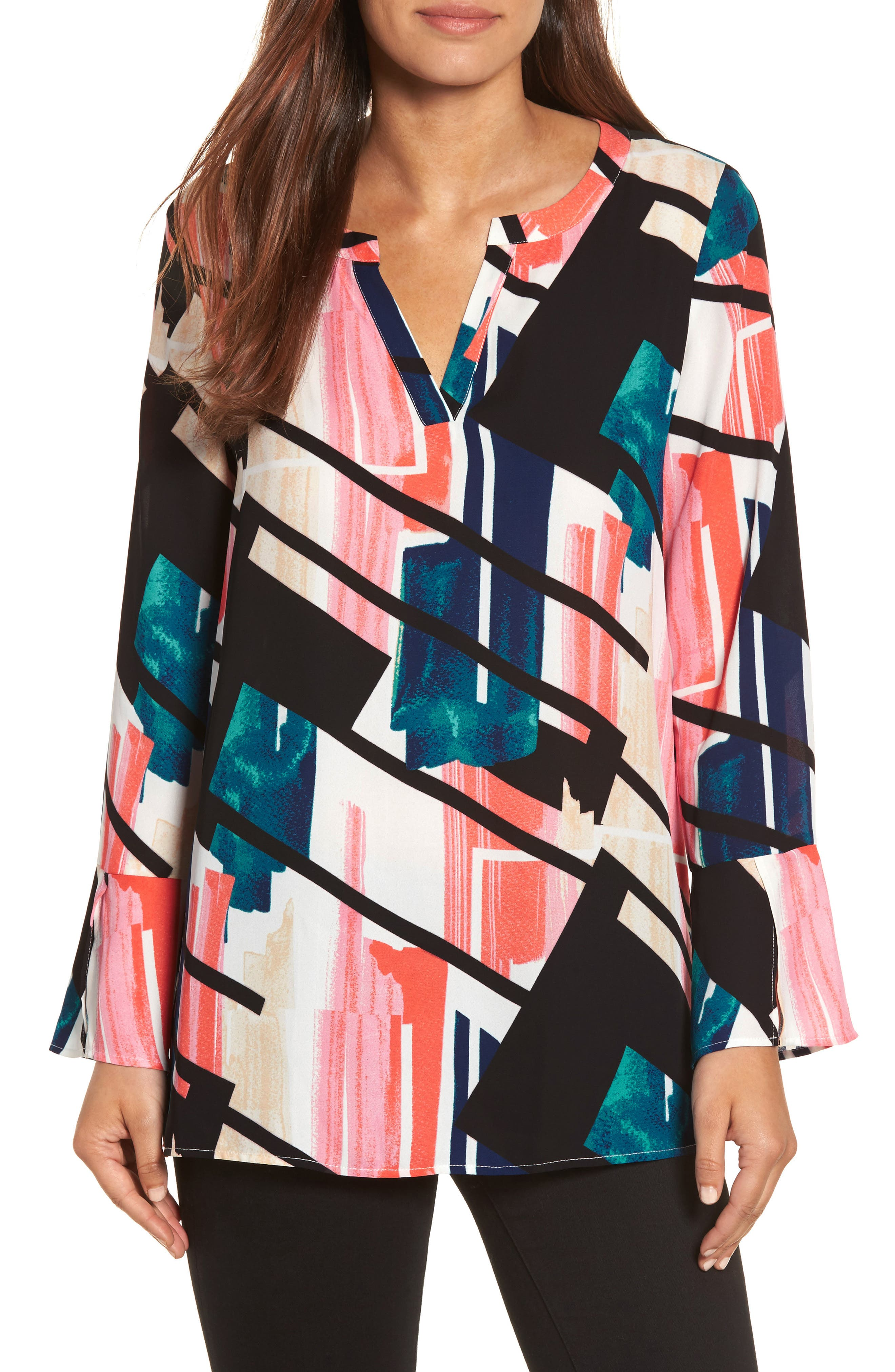 Chaus Bell Sleeve Abstract Print Blosue