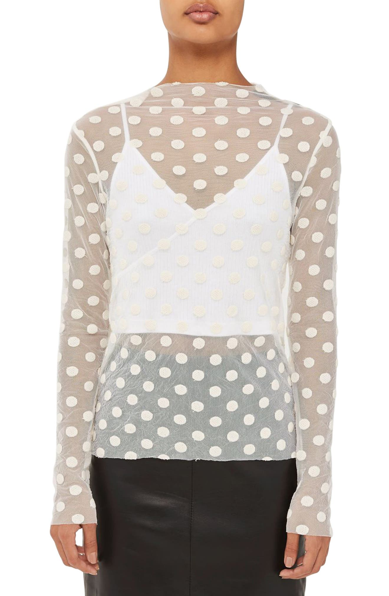 Topshop Boutique Polka Dot Mesh Top