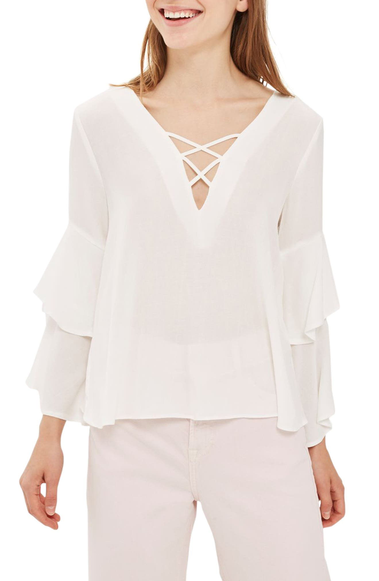 Topshop Lattice Layer Bell Sleeve Top
