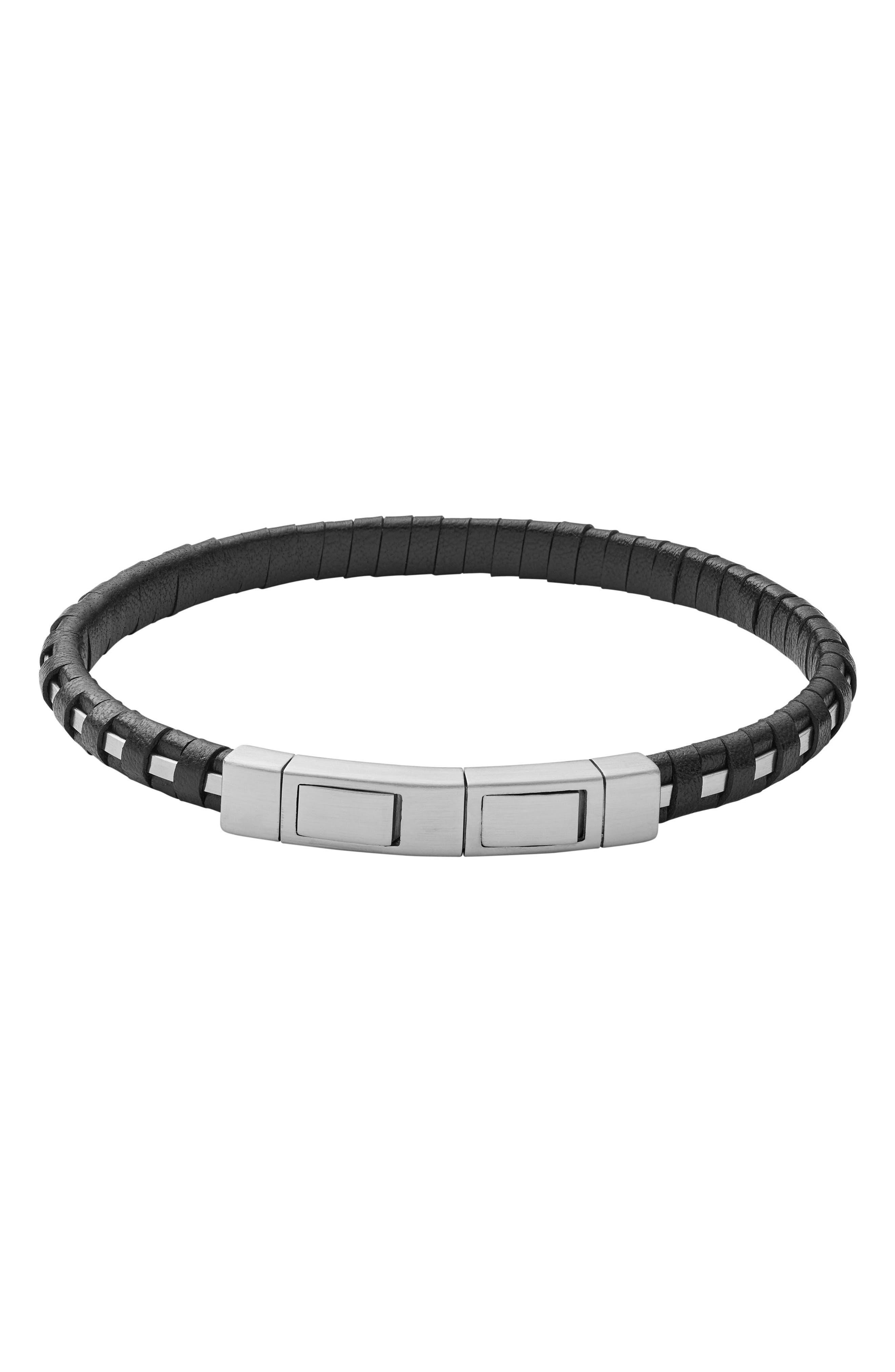 Skagen Venthir Leather Wrapped Bracelet