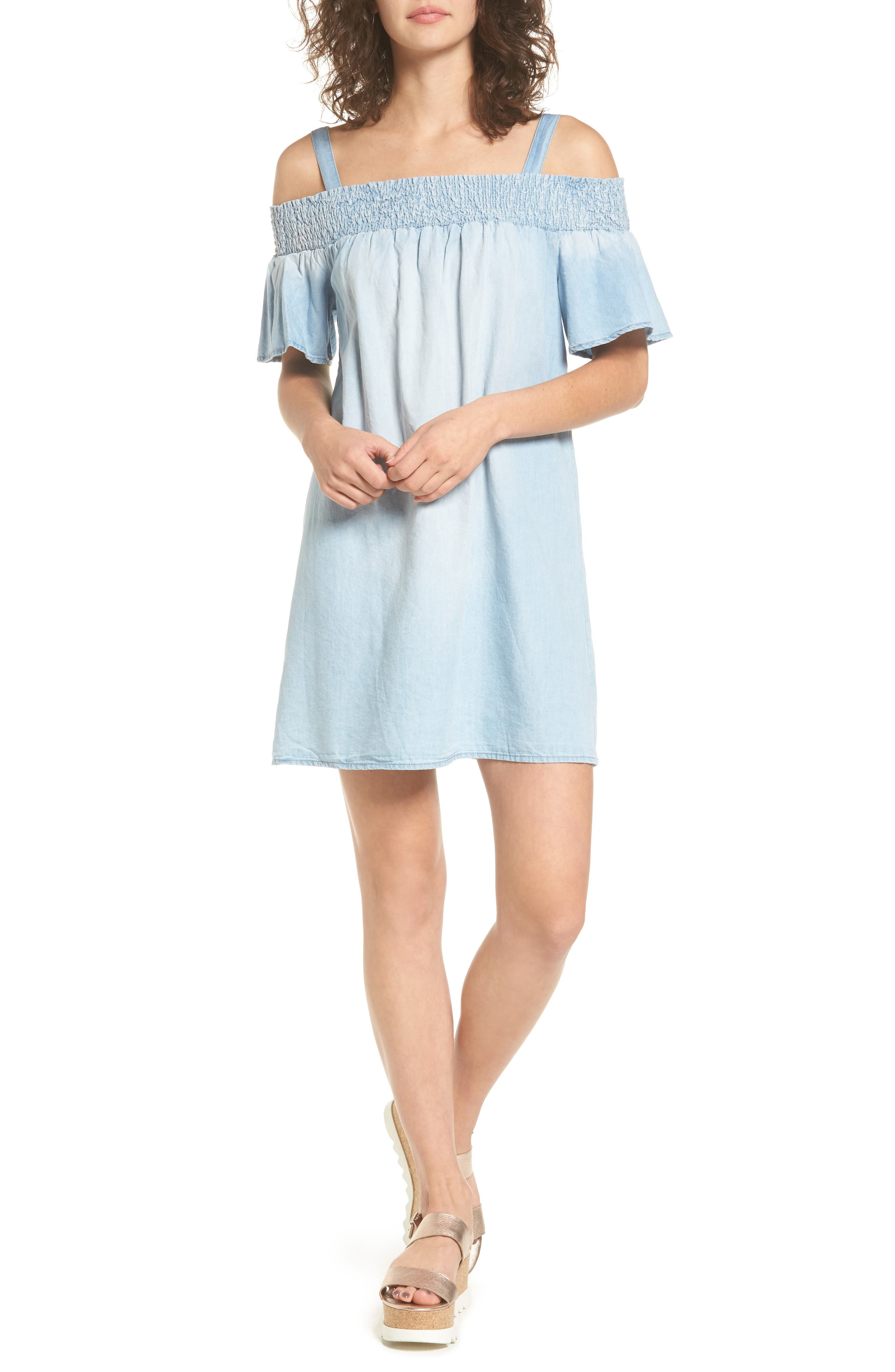As U Wish Smocked Chambray Off the Shoulder Dress