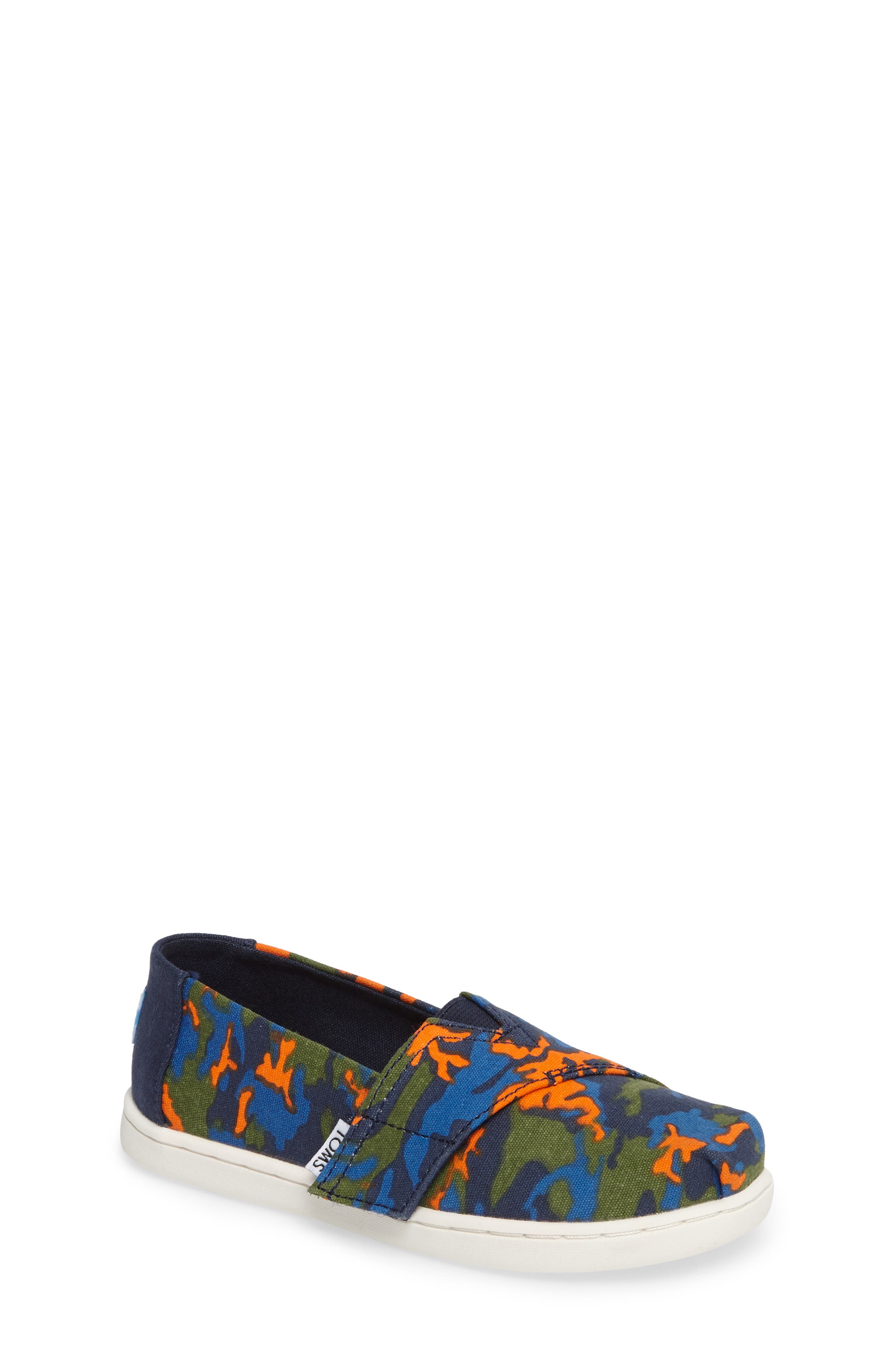 TOMS Tiny Alpargata Print Slip-On (Baby, Walker & Toddler)