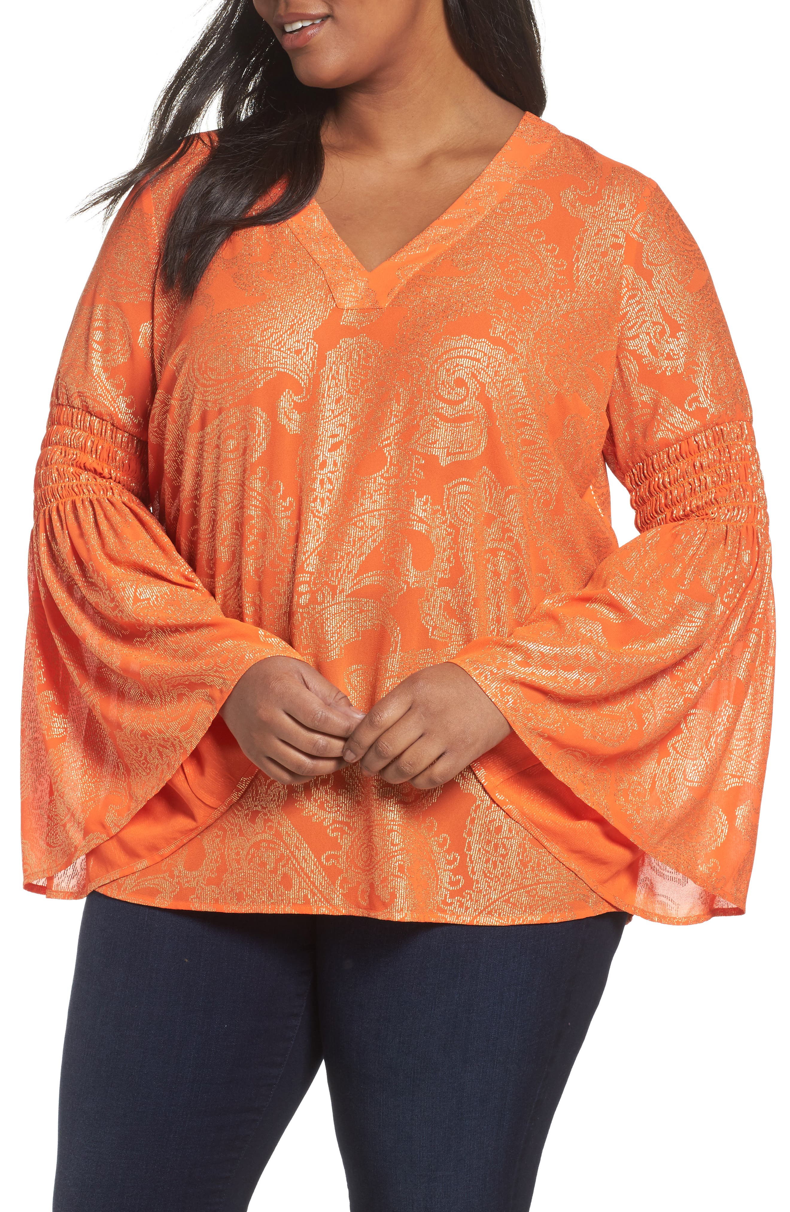 MICHAEL Michael Kors Samara Bell Sleeve Top (Plus Size)