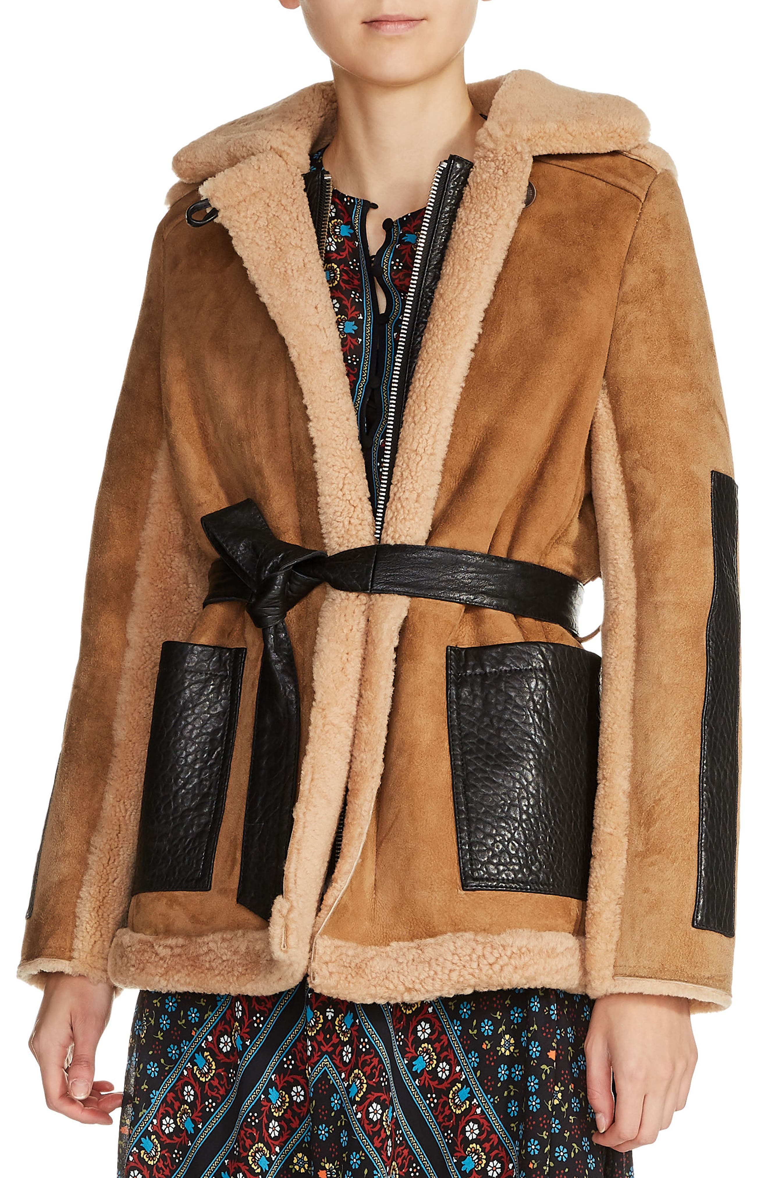 maje Faux Shearling-Lined Leather Coat