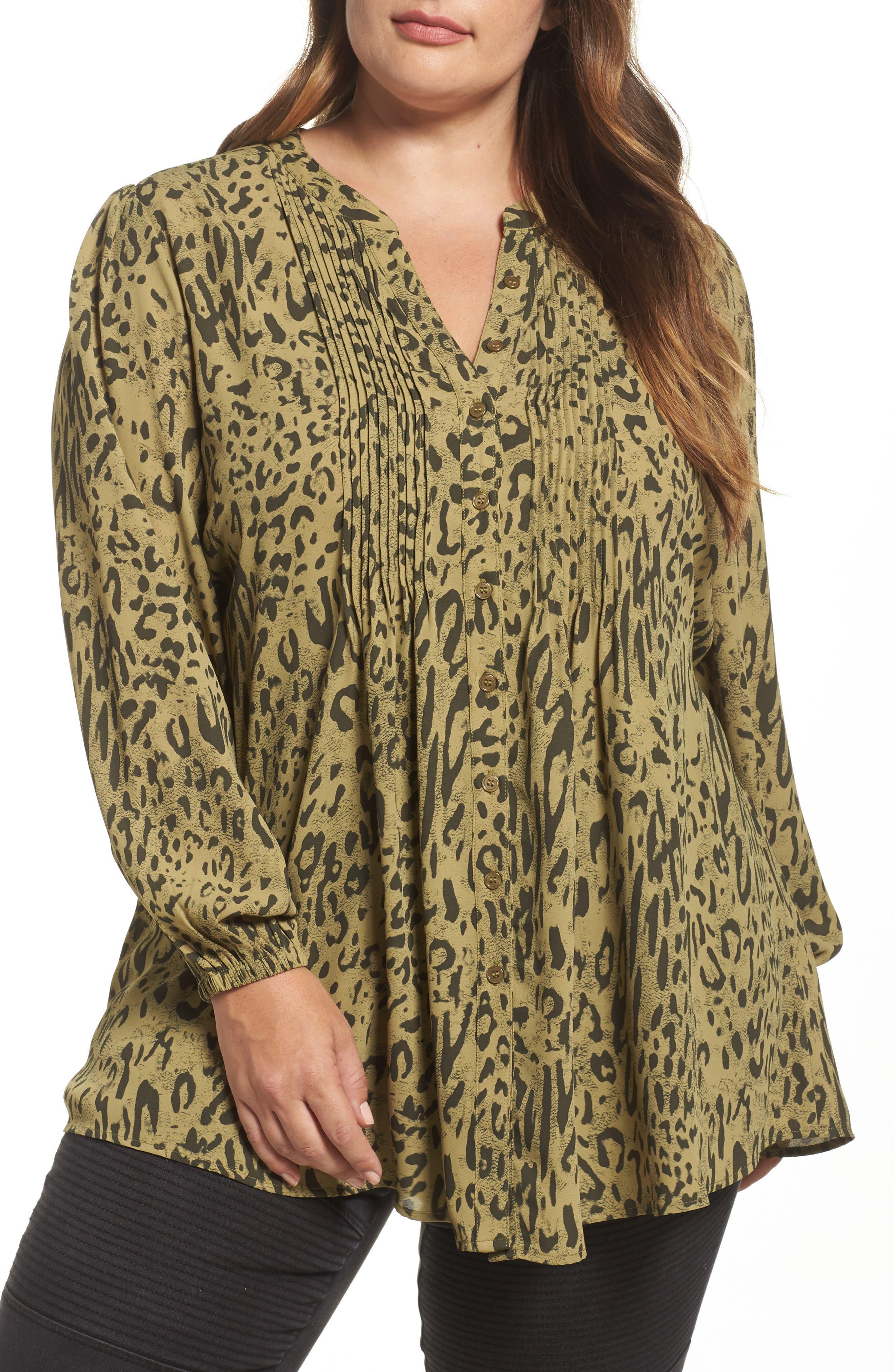 Melissa McCarthy Seven7 Print Pintuck Blouse (Plus Size)