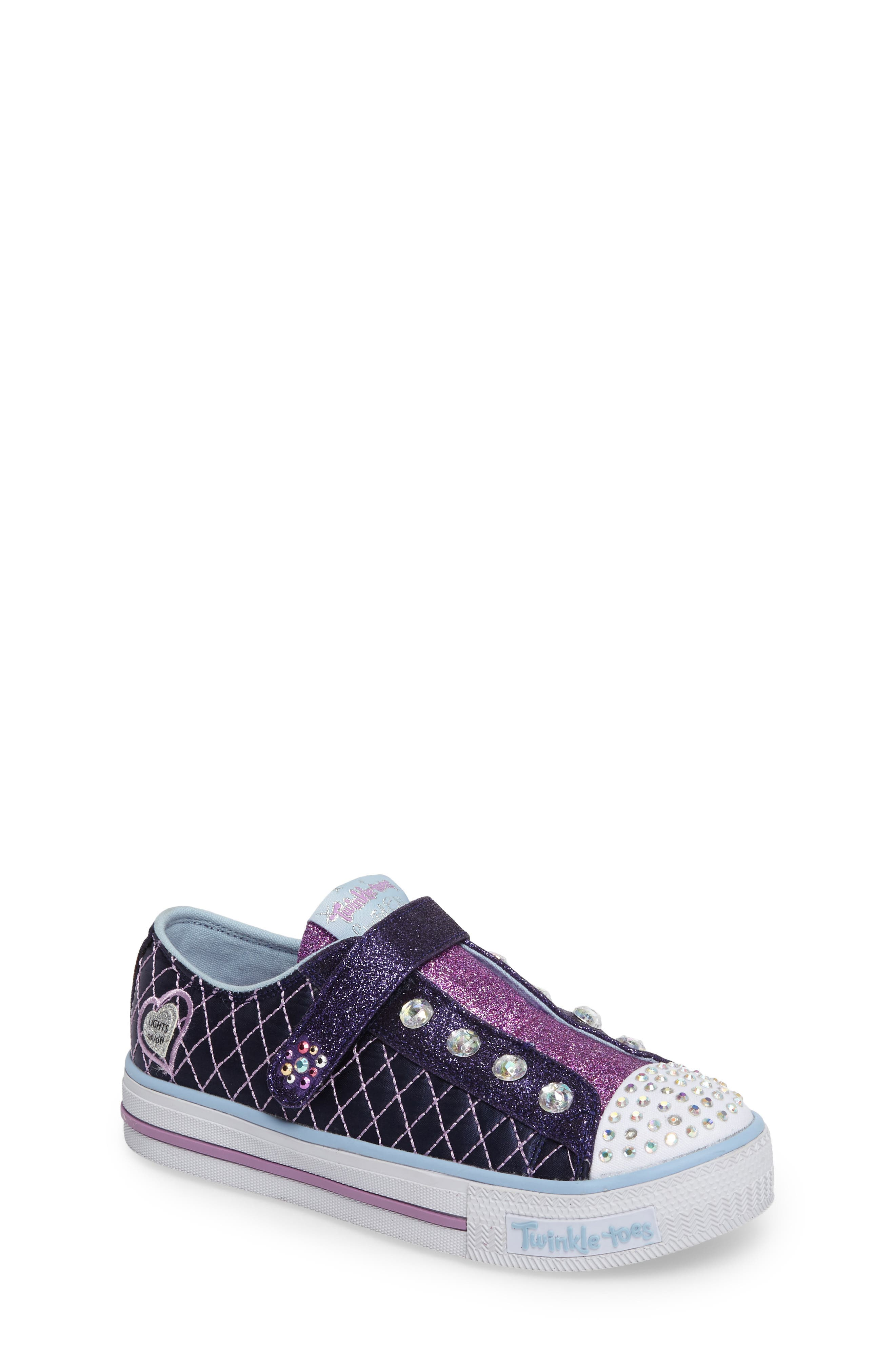 SKECHERS Twinkle Toes Shuffles Sparkly Jewels Light-Up Sneaker (Toddler & Little Kid)