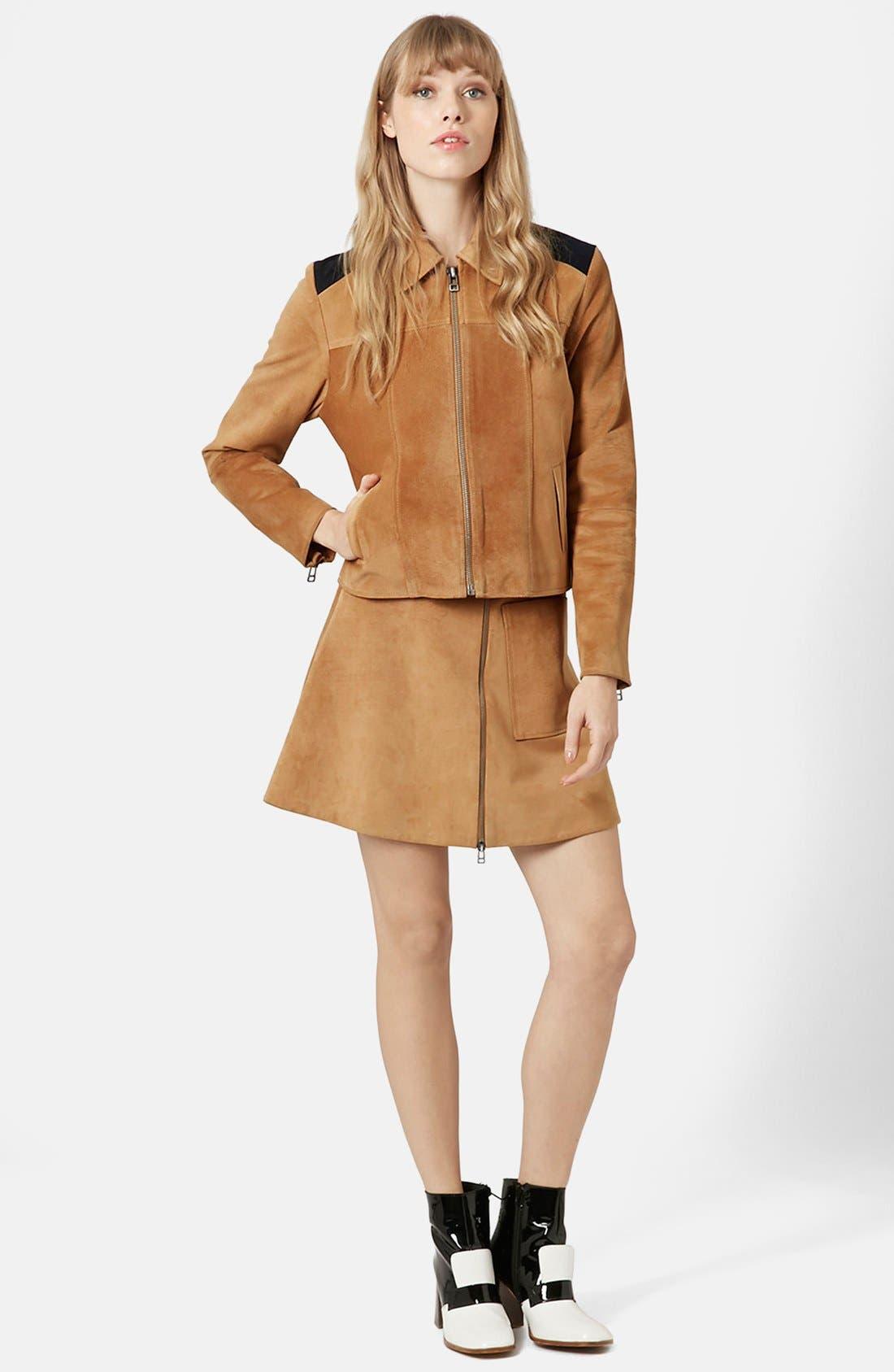 Alternate Image 3  - Topshop Front Zip Suede Skirt (Brit Pop-In) (Nordstrom Exclusive)