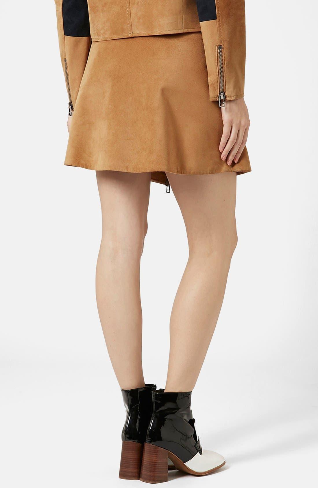 Alternate Image 2  - Topshop Front Zip Suede Skirt (Brit Pop-In) (Nordstrom Exclusive)