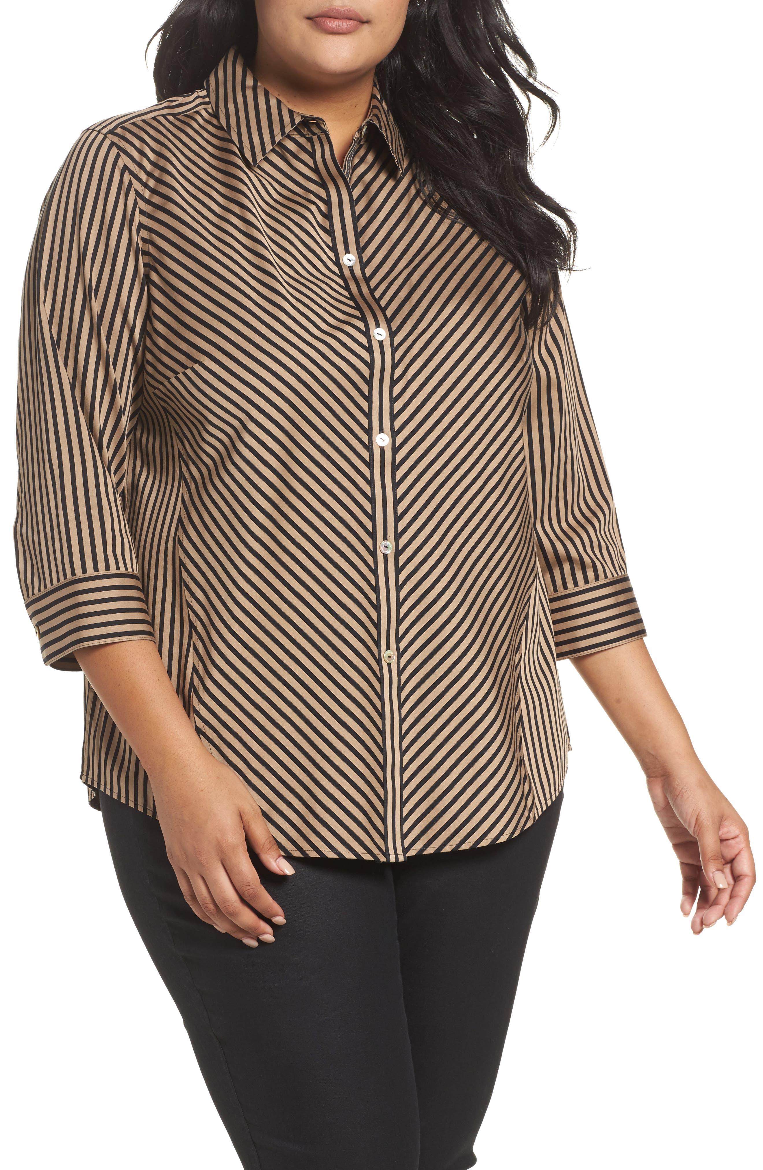 Foxcroft Fallon Satin Stripe Cotton Shirt (Plus Size)