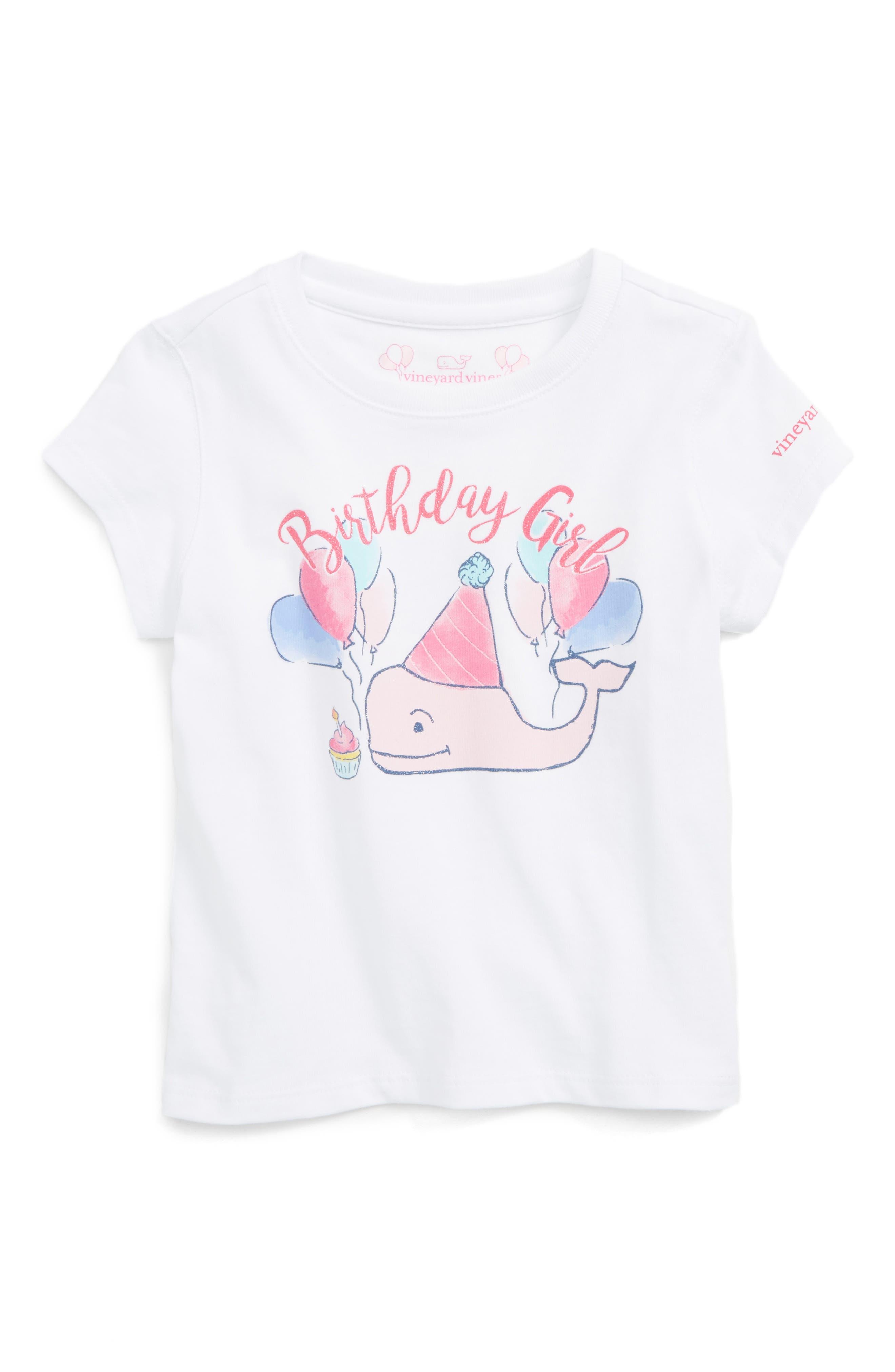 Vineyard Vines Birthday Girl Whale Graphic Tee (Toddler Girls)