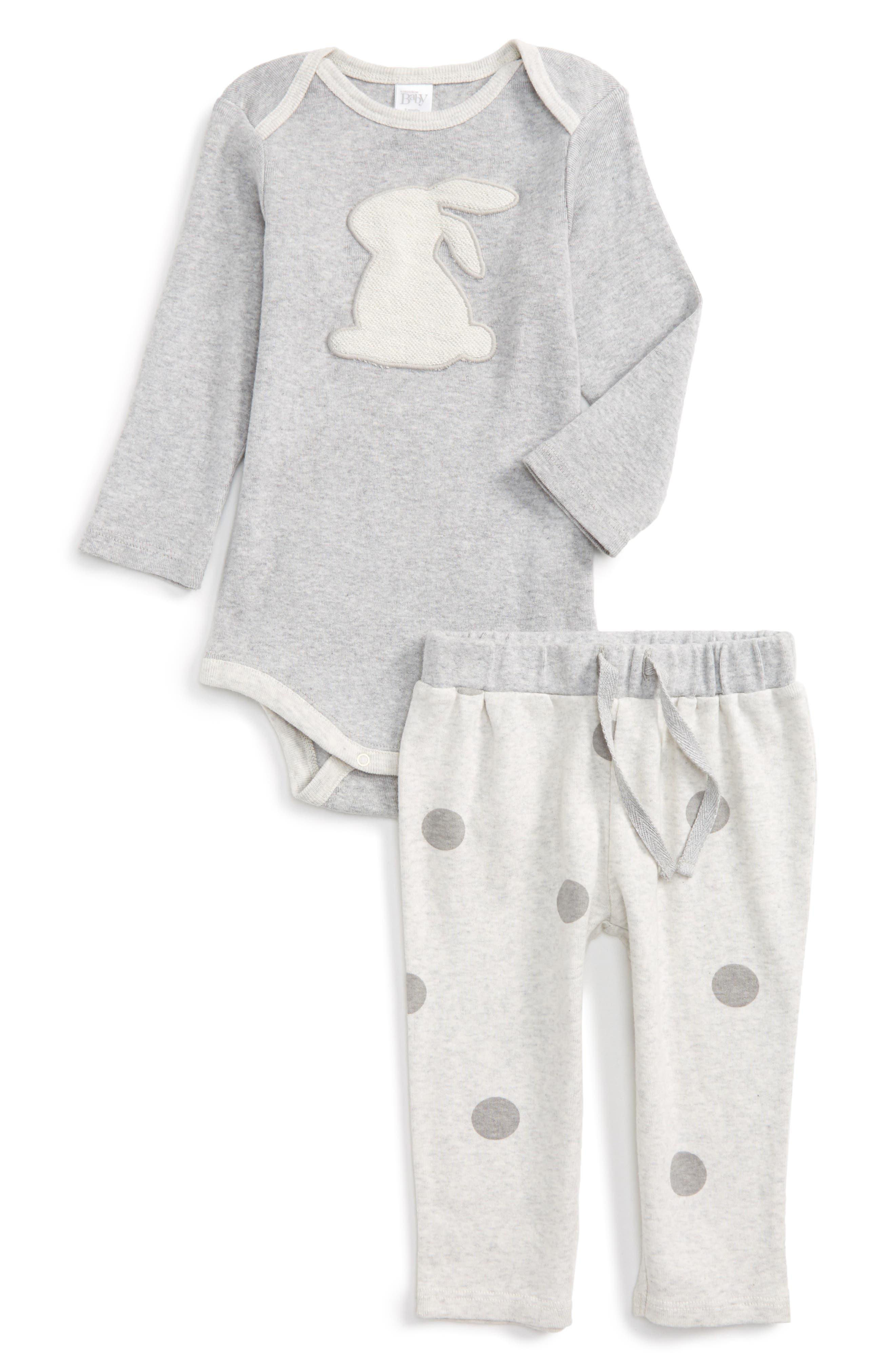 Nordstrom Baby Bunny Appliqué Bodysuit & Polka Dot Pants Set (Baby)