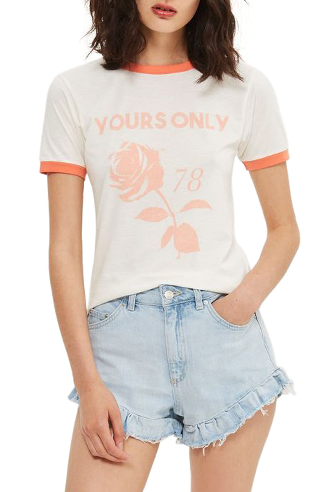 Topshop Yours Only Graphic Ringer Tee