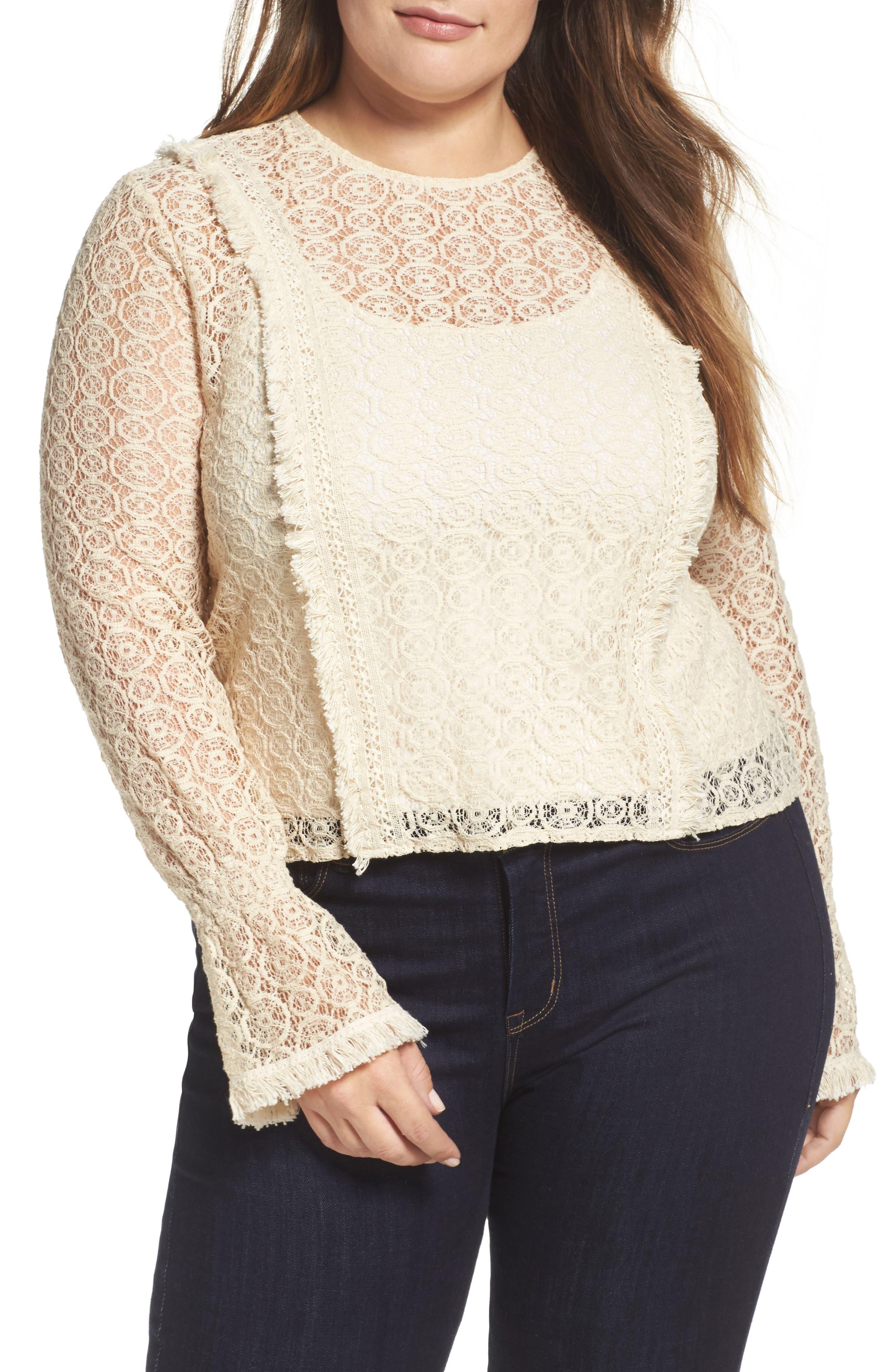 ELVI Fringe Trim Lace Top (Plus Size)