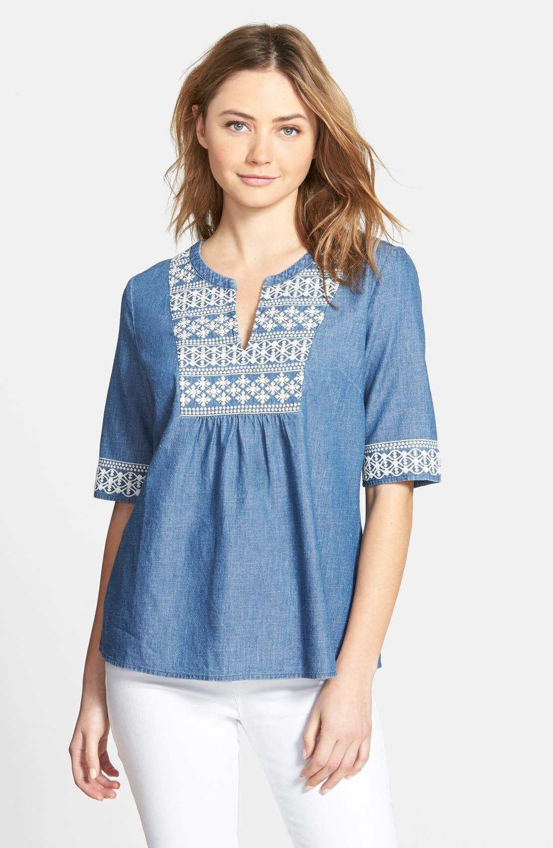 Alternate Image 1 Selected - Vineyard Vines Embroidered Chambray Top