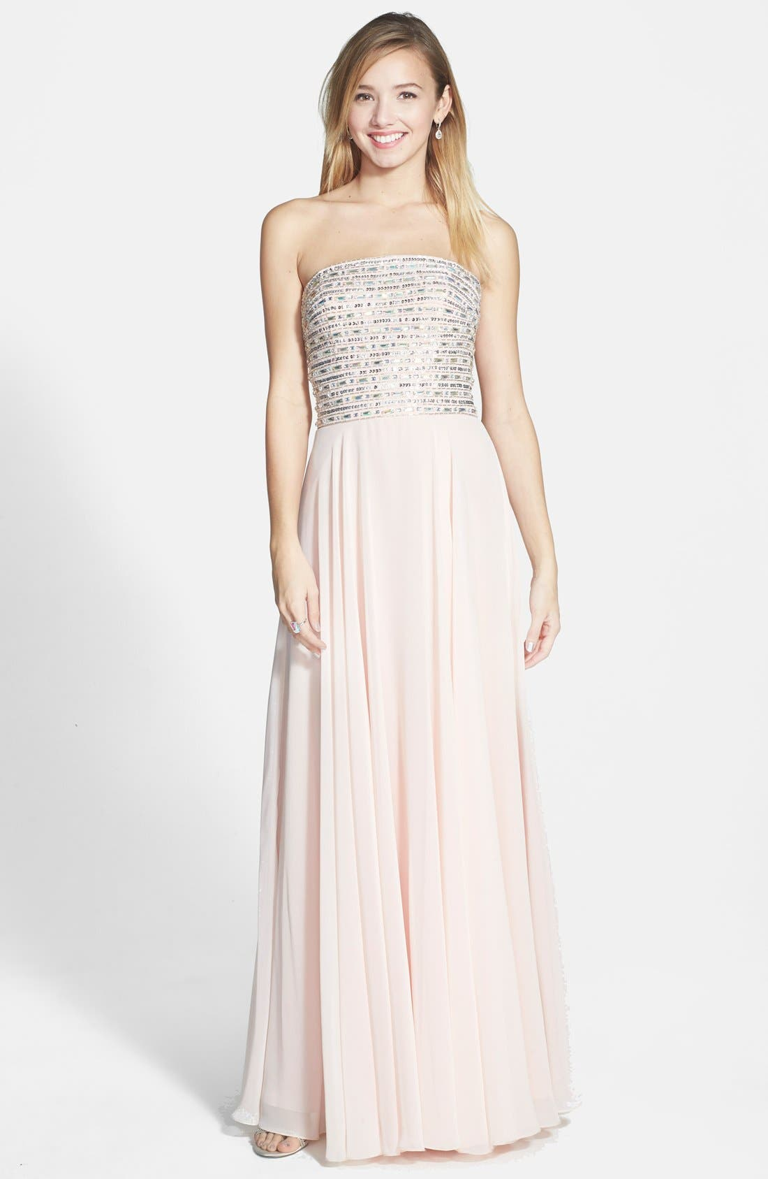 Alternate Image 1 Selected - Xscape Lace-Up Back Embellished Bustier Chiffon Gown