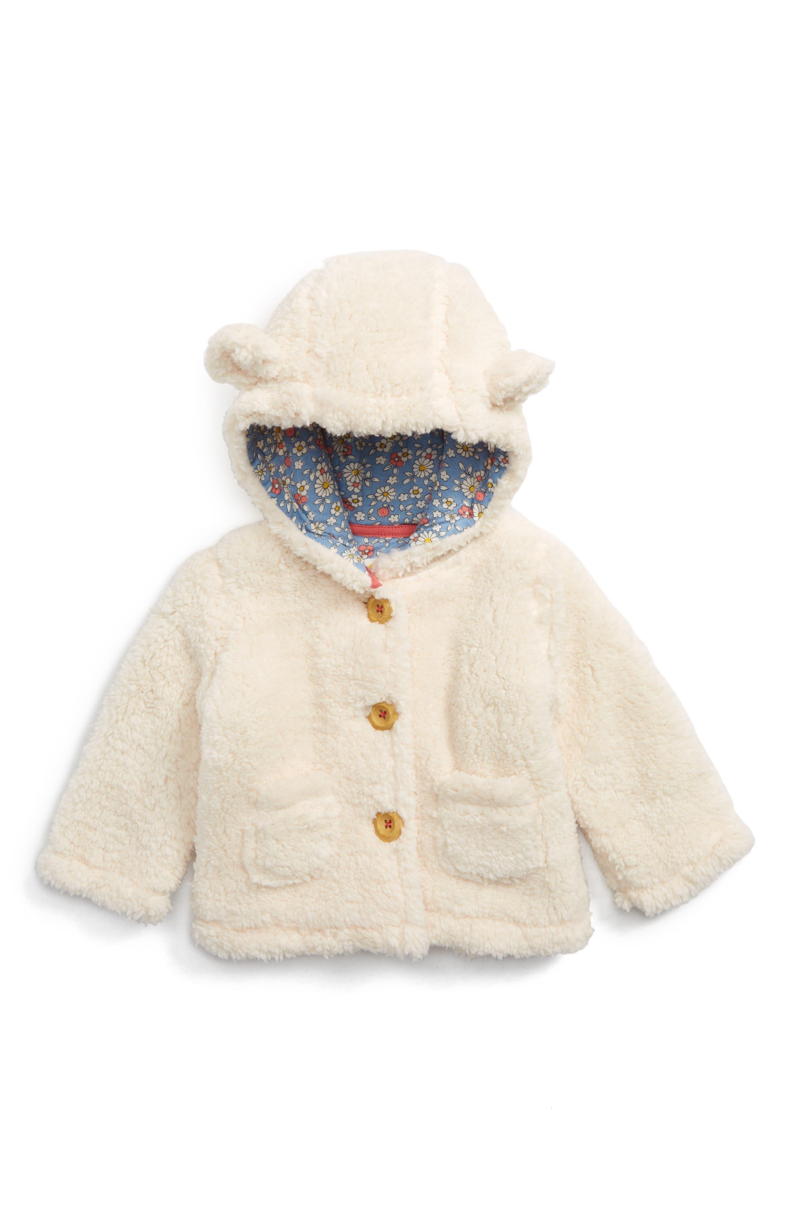 Mini Boden Teddy Bear Hooded Jacket (Baby Girls & Toddler Girls)