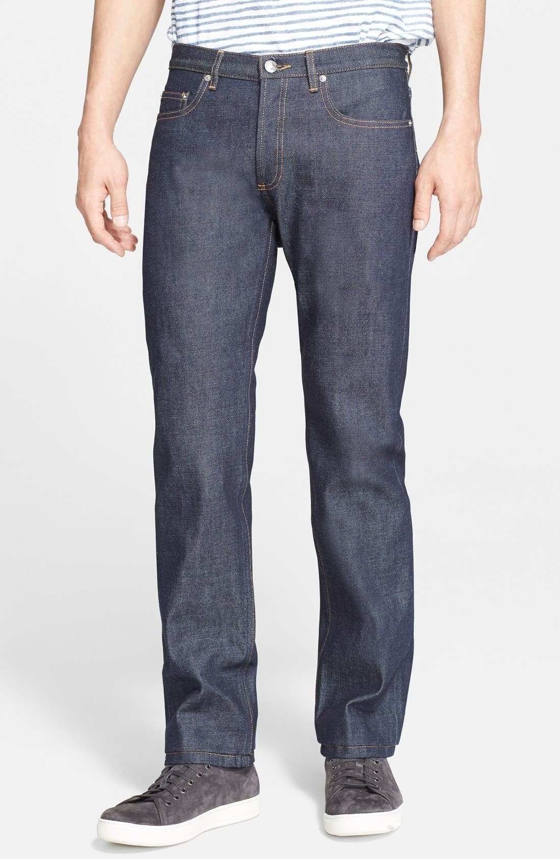 Alternate Image 1 Selected - A.P.C. New Standard Slim Straight Leg Selvedge Jeans (Indigo)