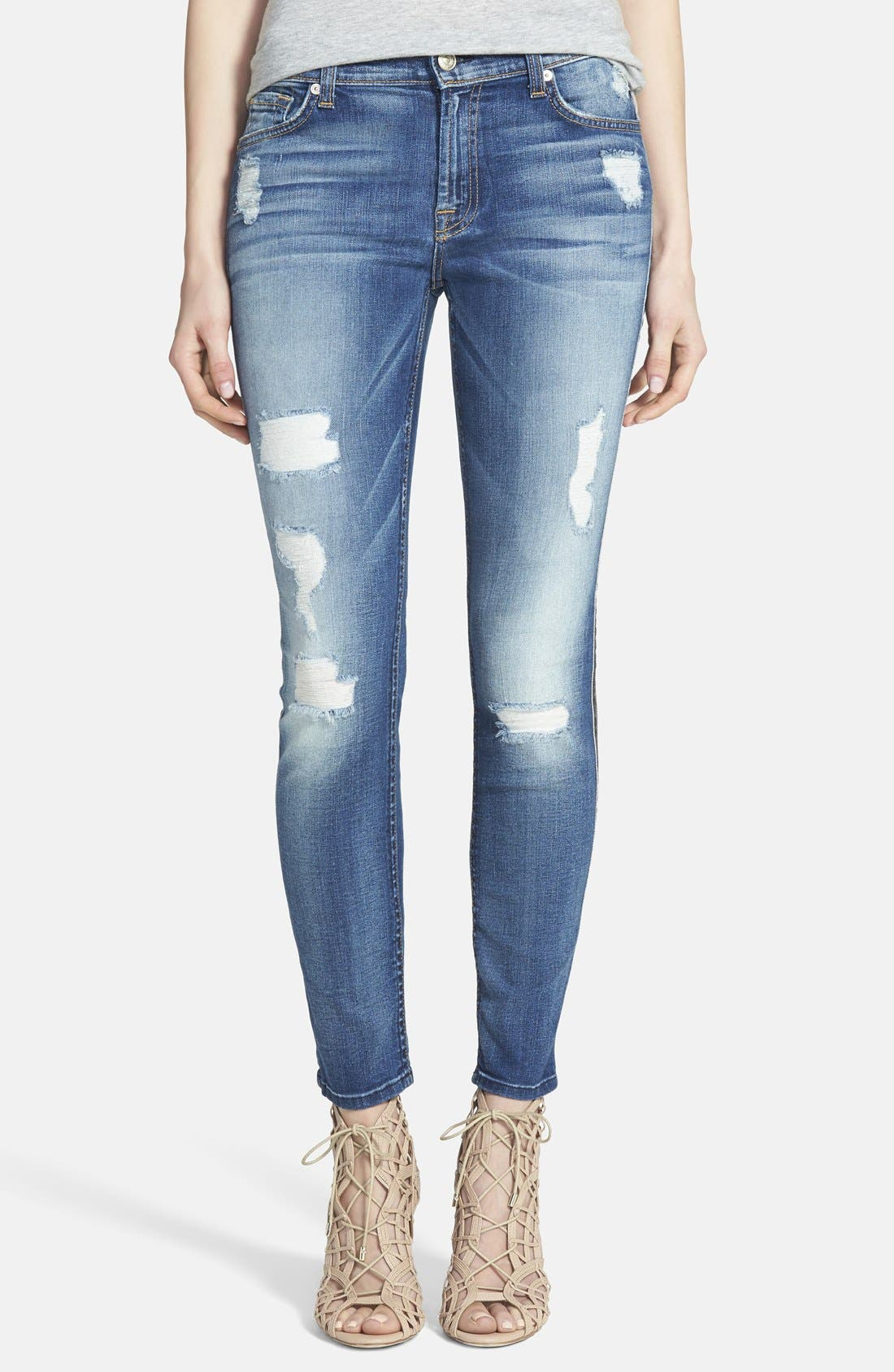 Main Image - 7 For All Mankind® Ripped Ankle Skinny Jeans (Distressed Authentic Light)