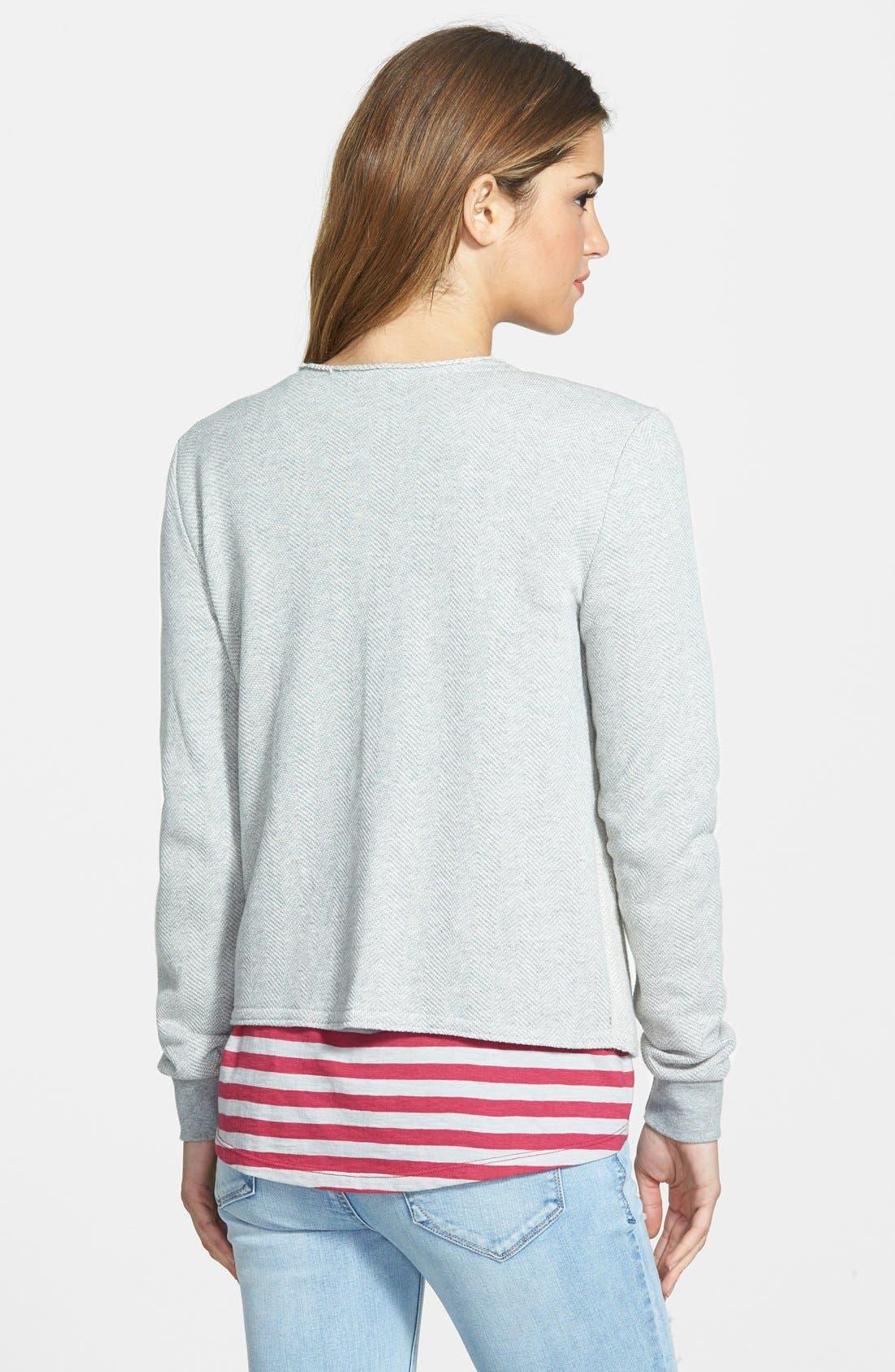 Alternate Image 2  - Caslon® Herringbone Pattern Knit Jacket (Regular & Petite)