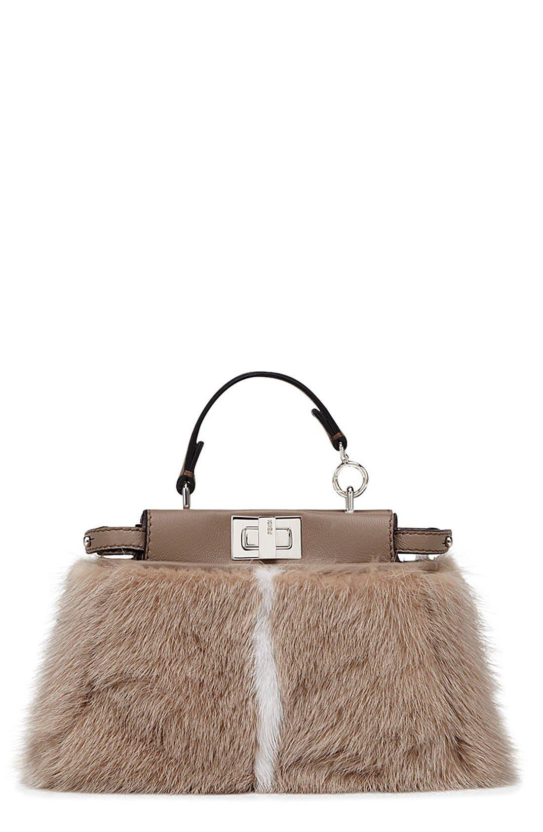Main Image - Fendi 'Micro Peekaboo' Genuine Mink Fur & Leather Bag (Extra Small)