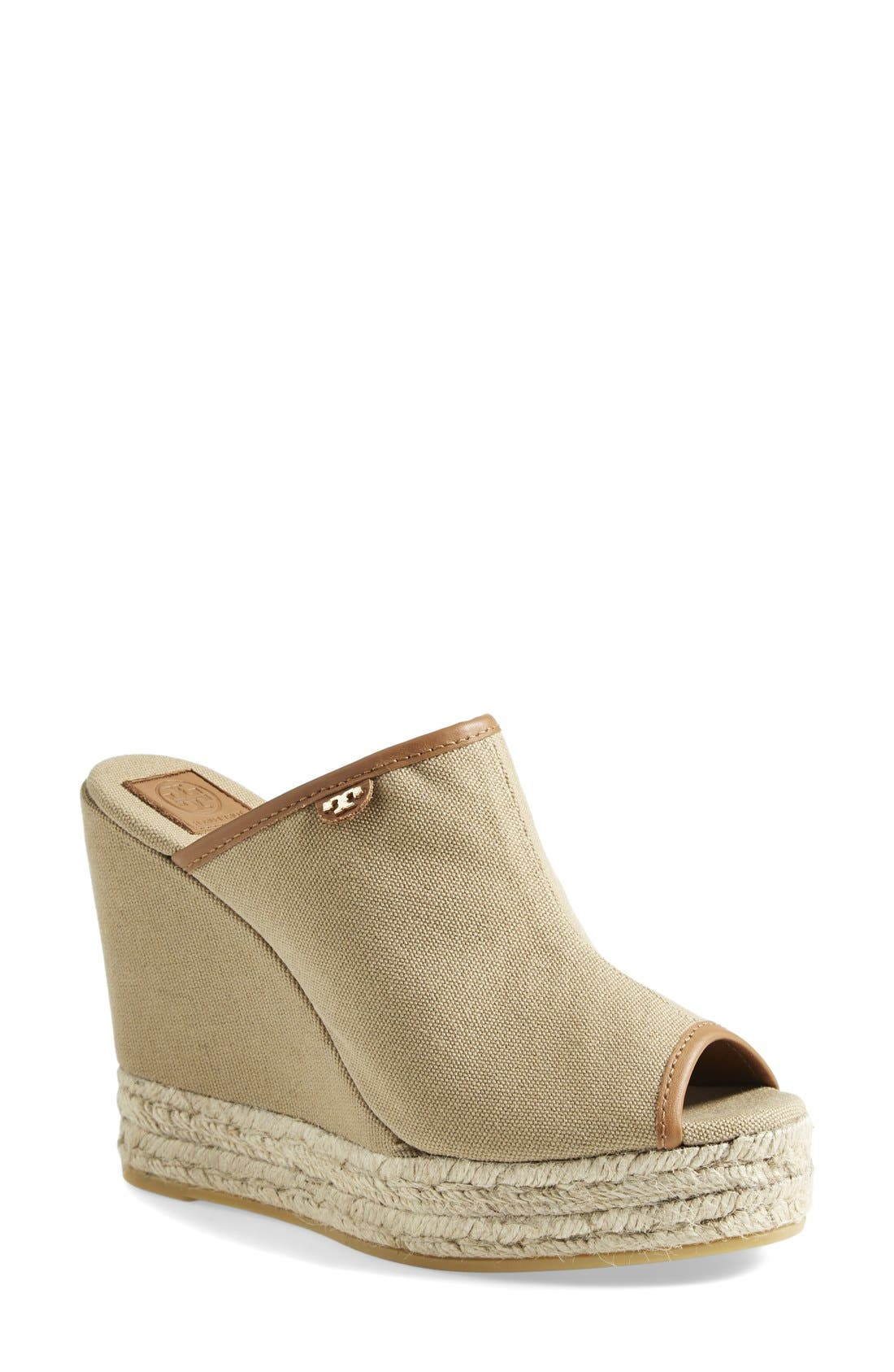 Alternate Image 1 Selected - Tory Burch Canvas Wedge Sandal (Women)
