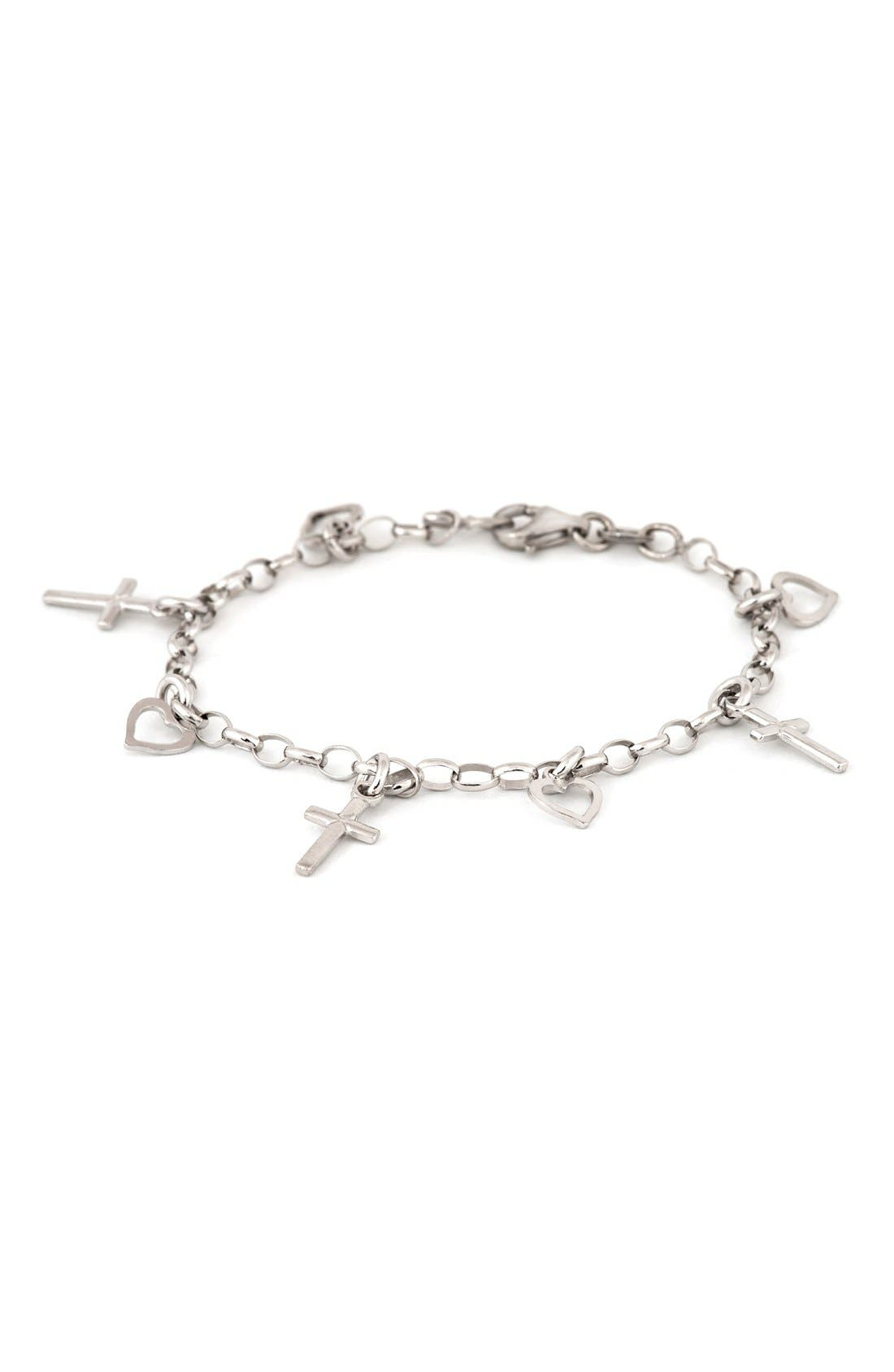 Speidel Cross & Heart Sterling Silver Charm Bracelet (Girls)