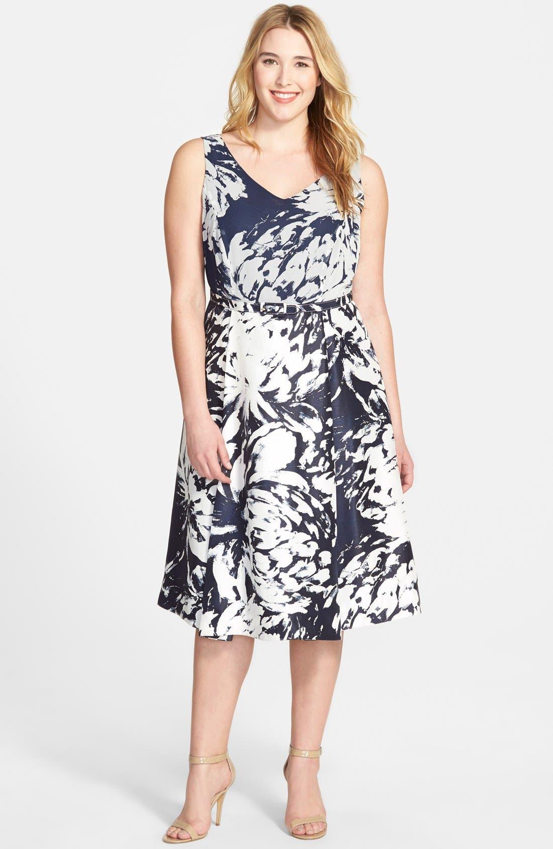 Alternate Image 4  - Taylor Dresses Floral  V-Neck Fit & Flare Dress  (Plus Size)