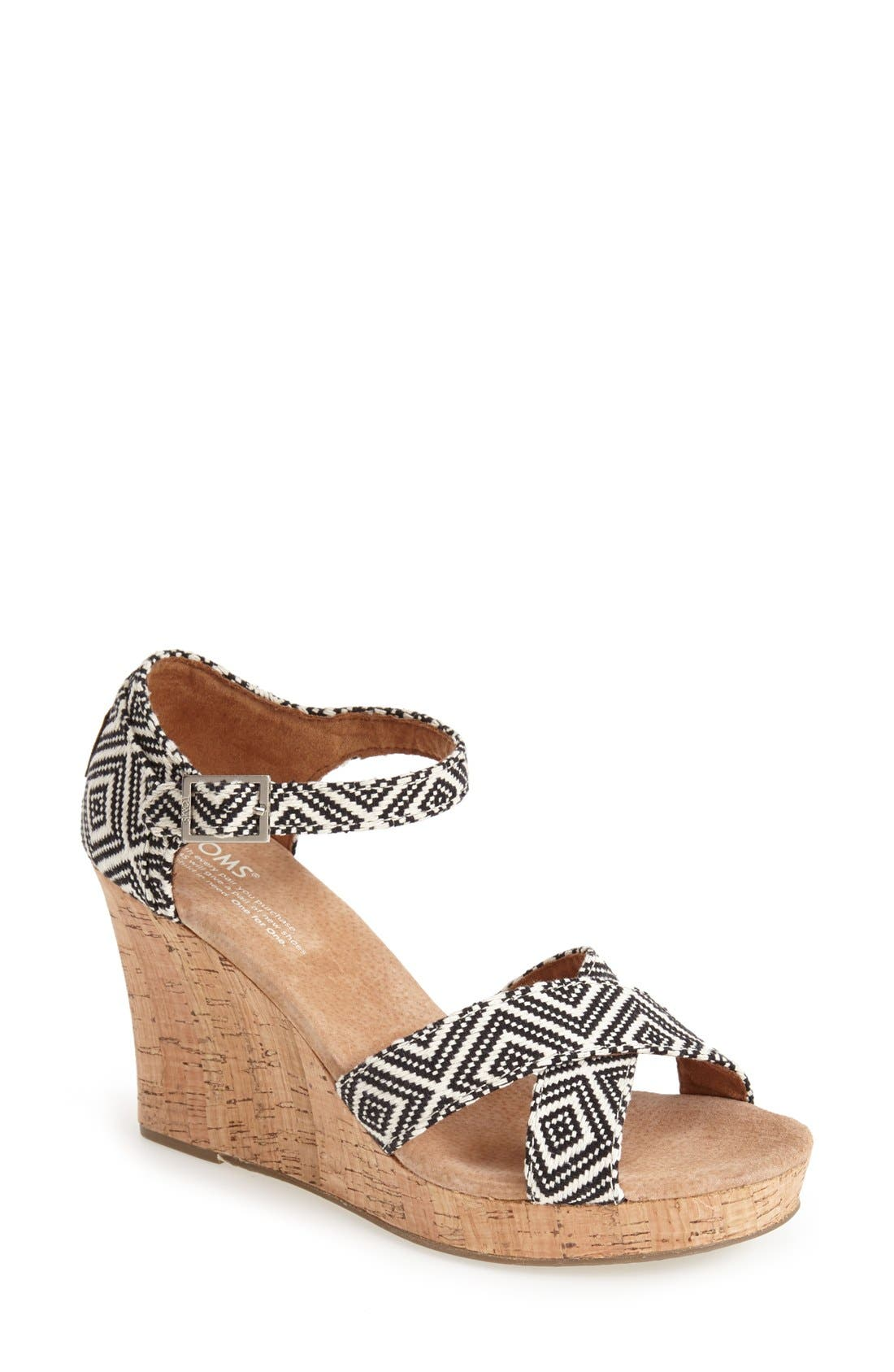 Main Image - TOMS Canvas Woven Geometric Print Wedge Sandal (Women)