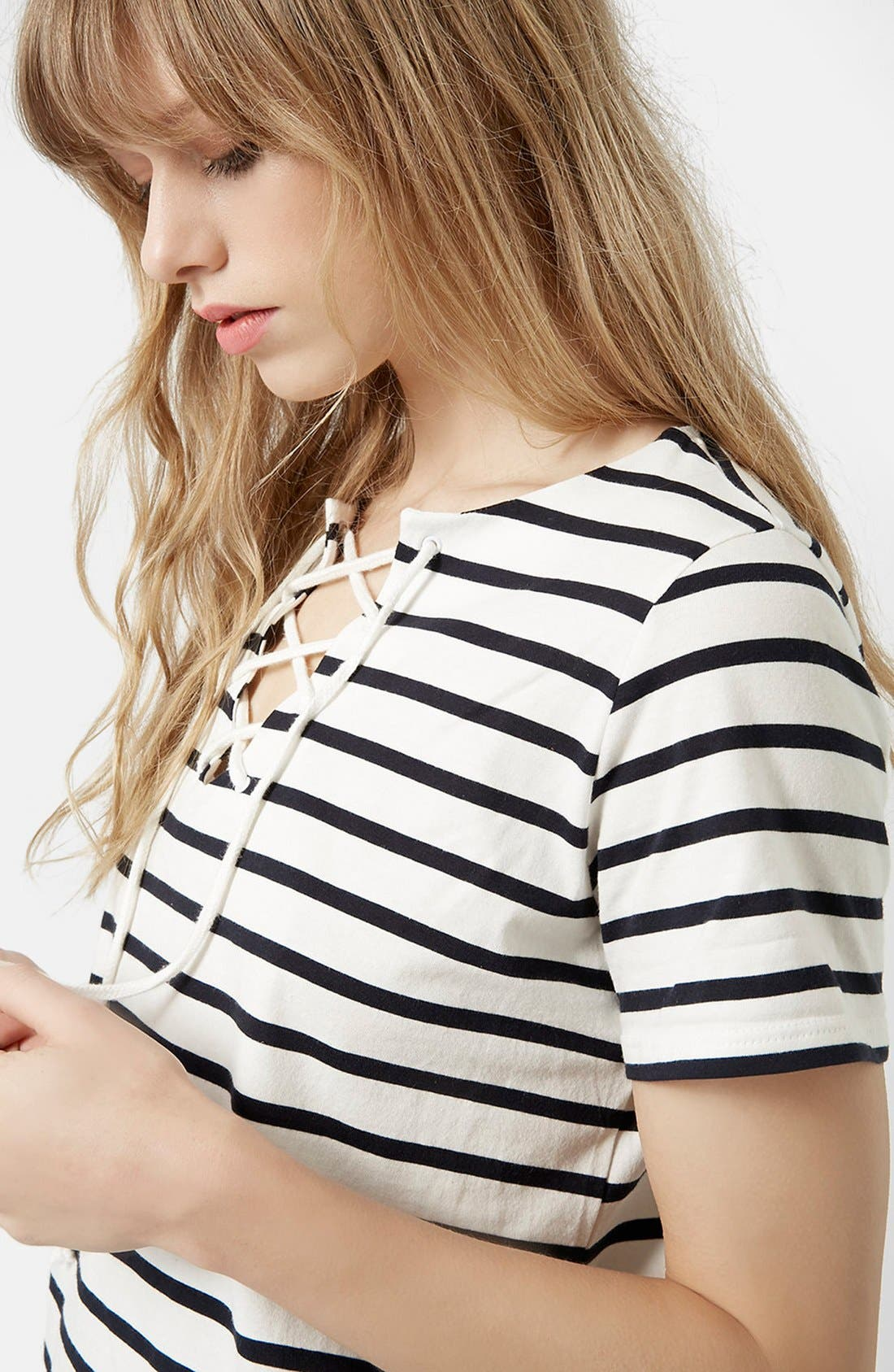 Alternate Image 4  - Topshop Lace-Up Nautical Top