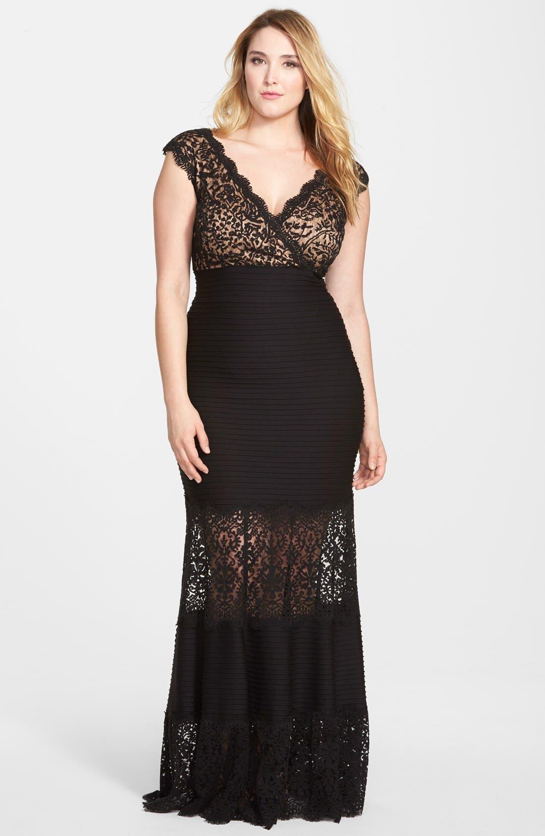 Main Image - Tadashi Shoji Pintuck & Lace Empire Gown (Plus Size)