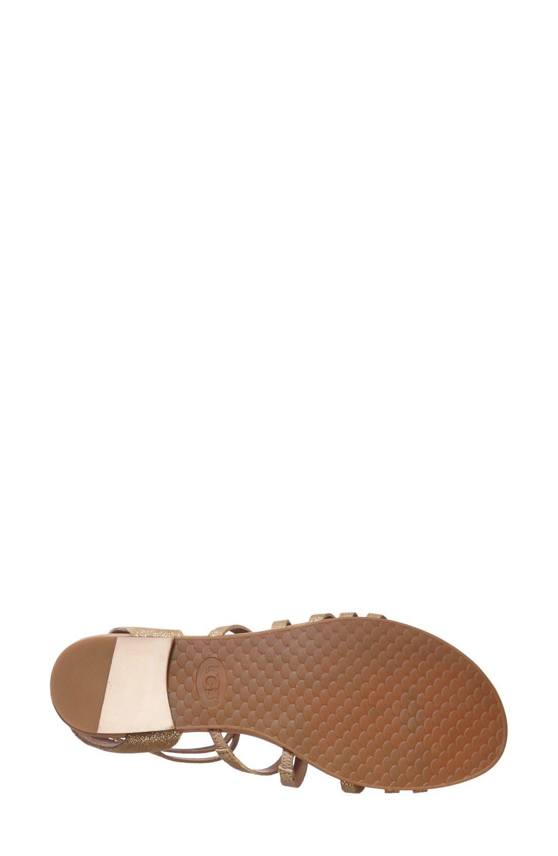 Alternate Image 4  - UGG® Australia 'Devie' Metallic Leather Sandal (Women)