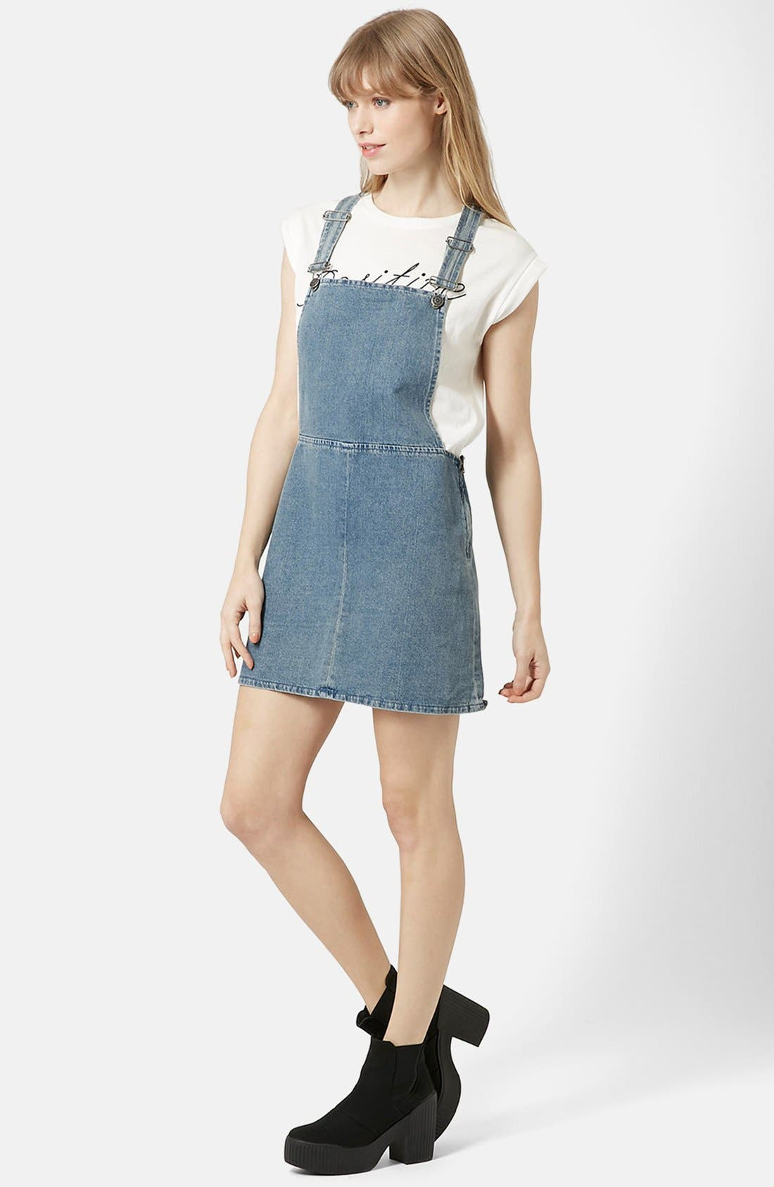 Main Image - Topshop Moto Vintage Wash Pinafore Dress