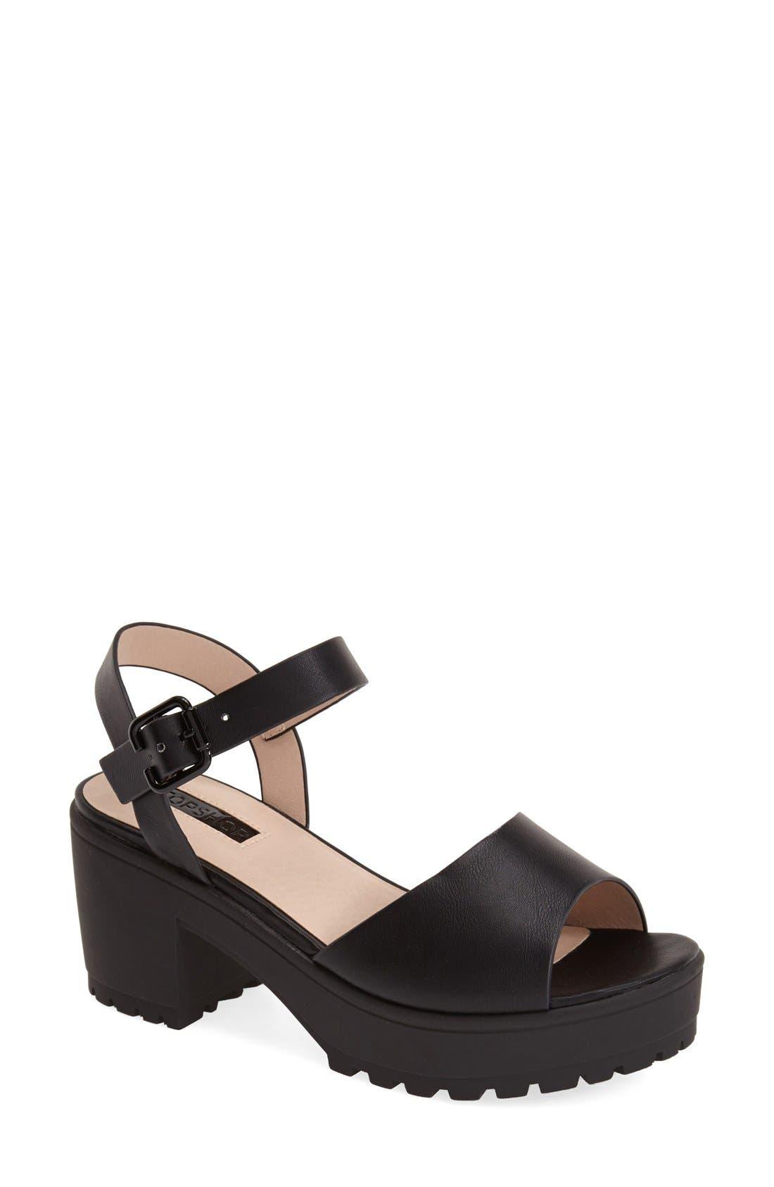 Alternate Image 1 Selected - Topshop 'Hatty' Ankle Strap Sandal (Women)