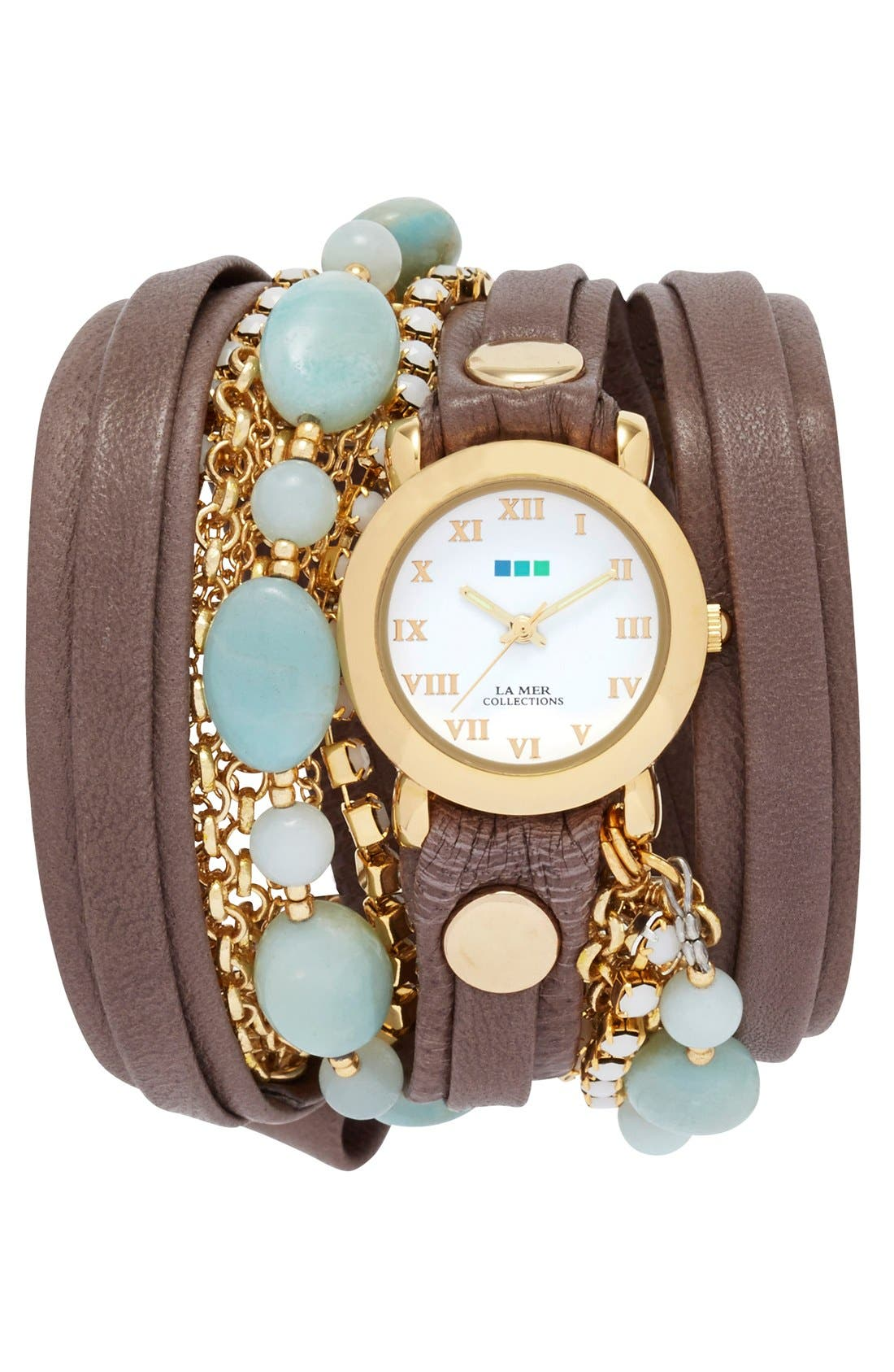 Main Image - La Mer Collections 'Venetian' Leather & Stone Wrap Watch, 32mm (Nordstrom Online Exclusive)