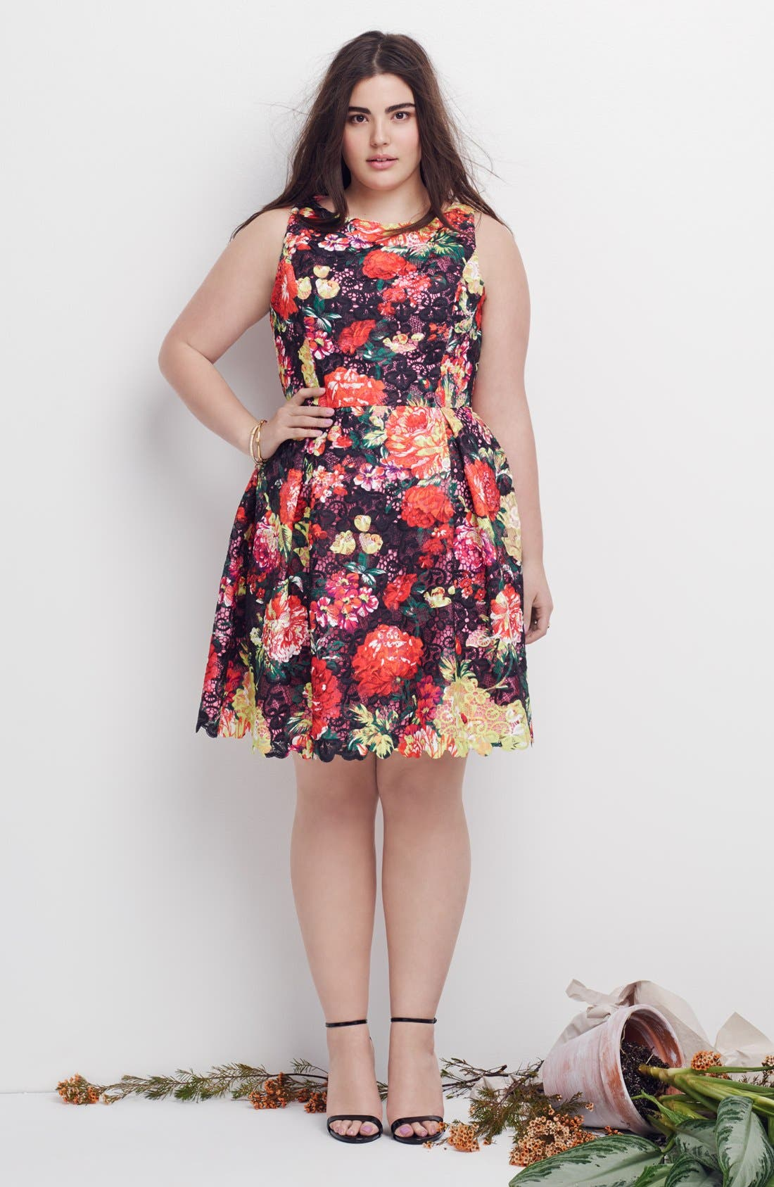 Alternate Image 5  - Adrianna Papell Print Lace Fit & Flare Dress (Plus Size)