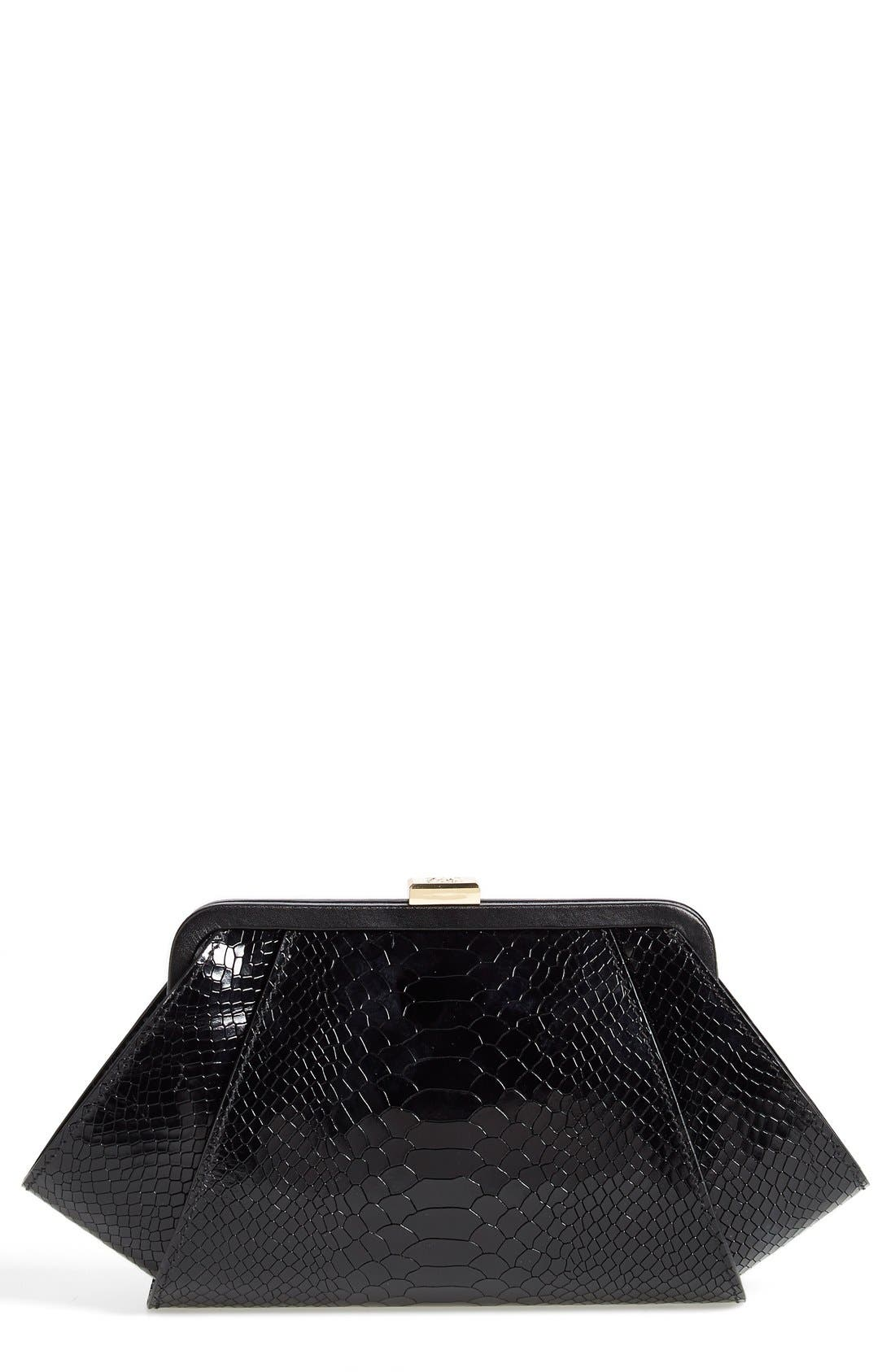 Main Image - ZAC Zac Posen 'Posen' Snake Embossed Leather Clutch