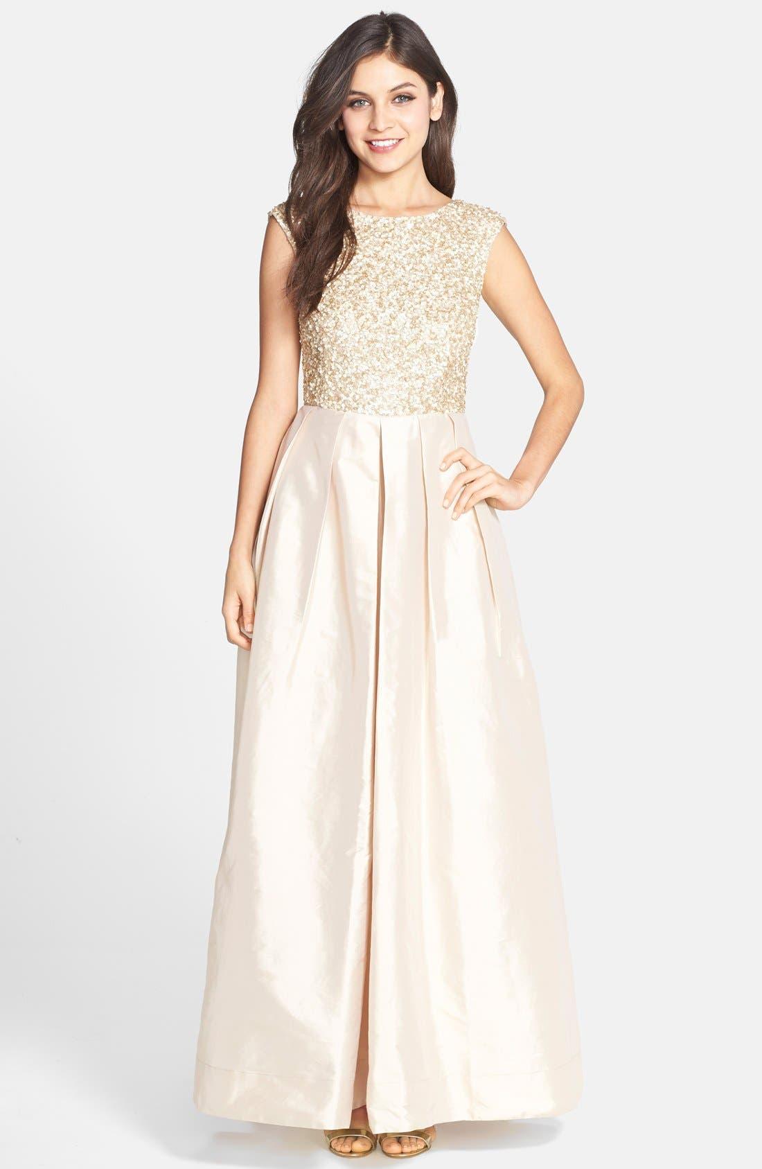 Main Image - Aidan Mattox Embellished Bodice Taffeta Gown