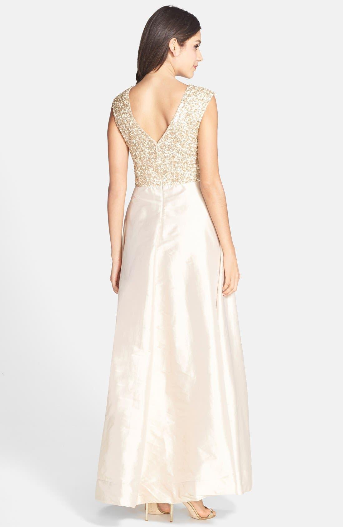 Alternate Image 2  - Aidan Mattox Embellished Bodice Taffeta Gown