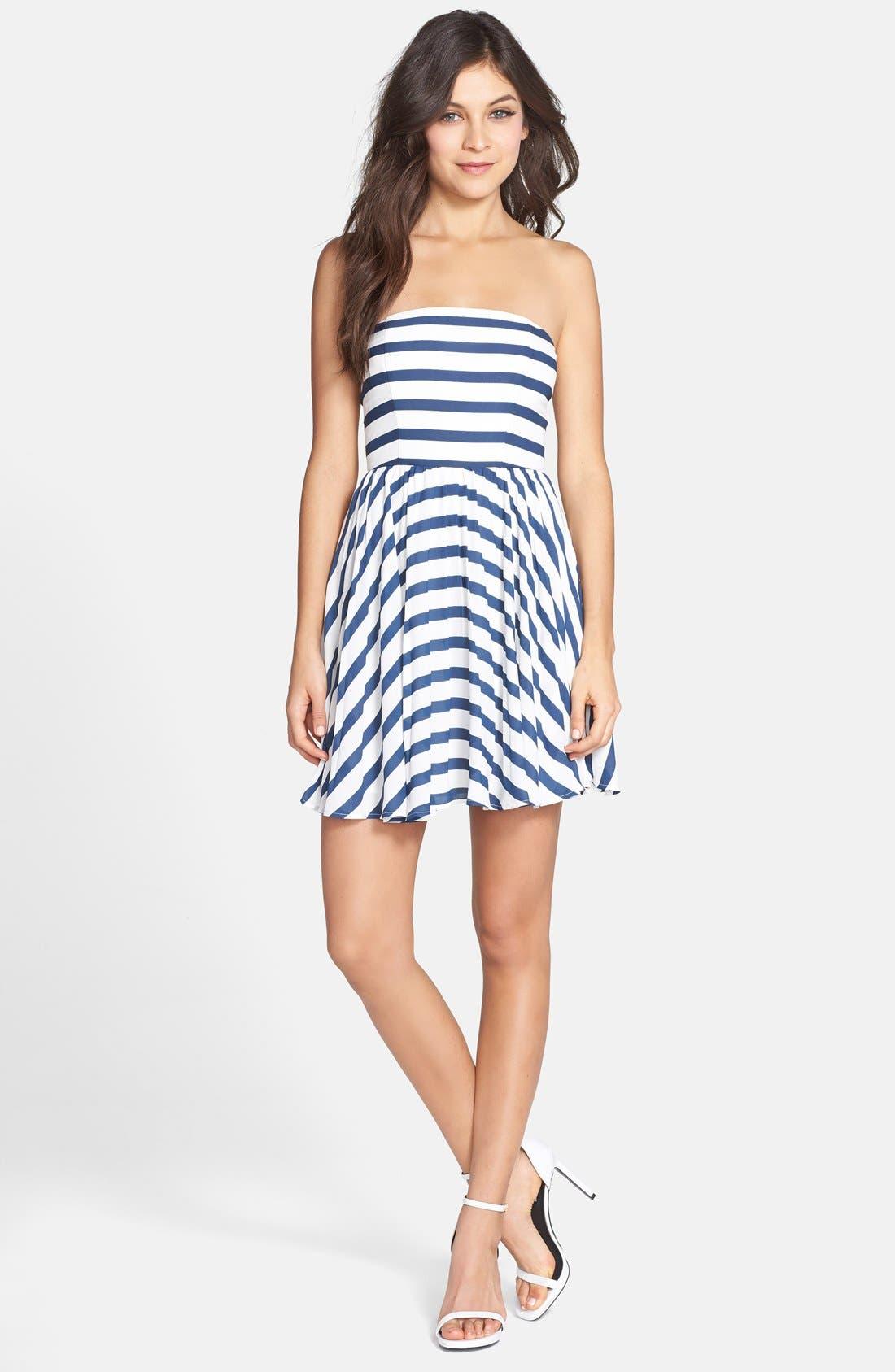 Alternate Image 3  - BB Dakota 'Aleta' Stripe Strapless Fit & Flare Dress