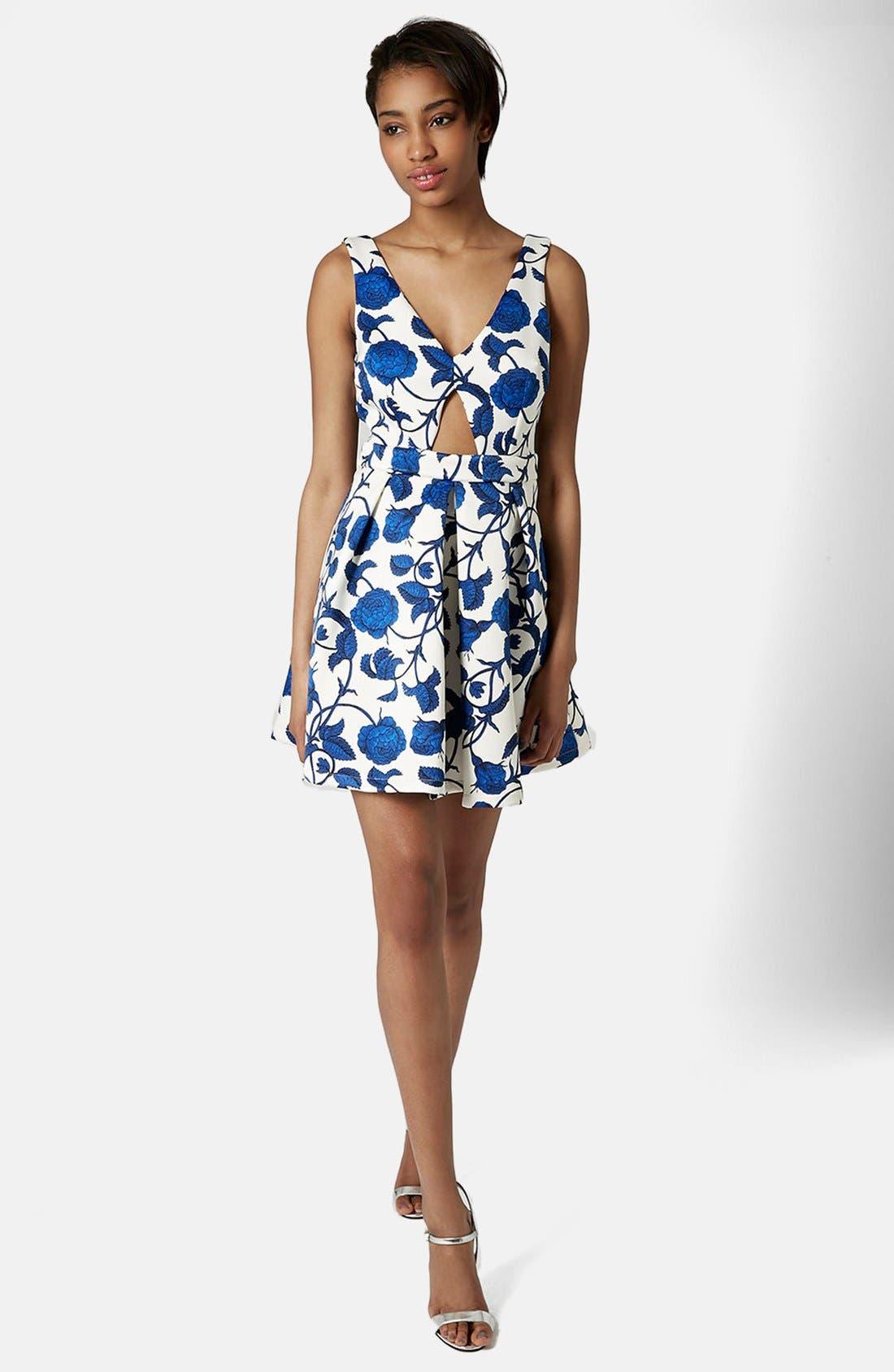 Alternate Image 5  - Topshop Cutout Rose Print Dress