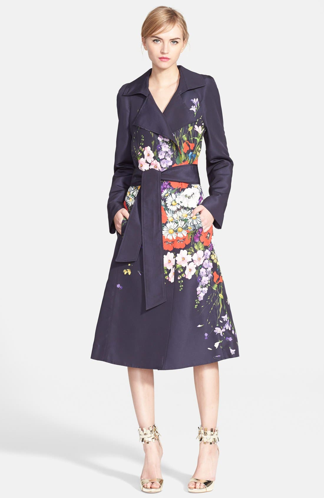 Alternate Image 4  - Oscar de la Renta Floral Print Silk Faille Trench Coat