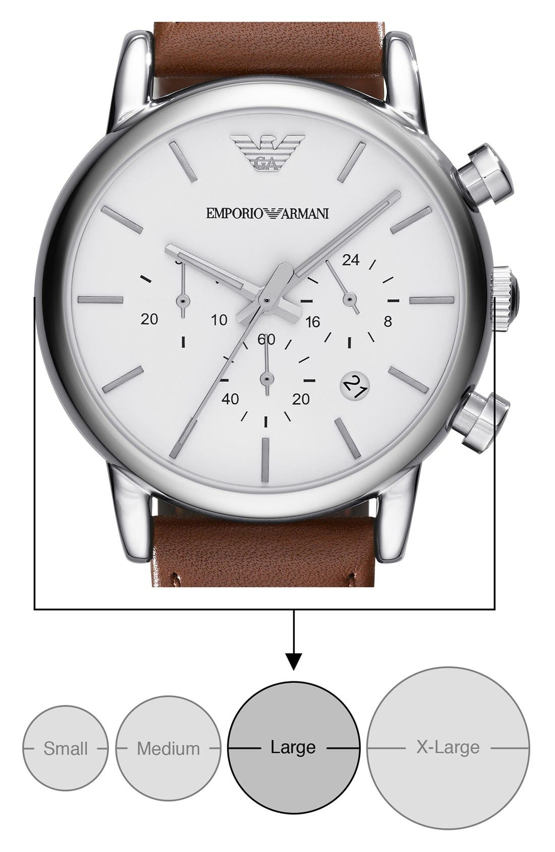 Alternate Image 5  - Emporio Armani Chronograph Leather Strap Watch, 41mm
