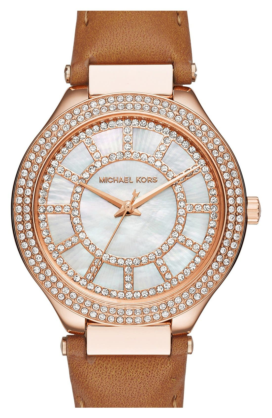 Main Image - Michael Kors 'Kerry' Crystal Accent Leather Strap Watch, 38mm
