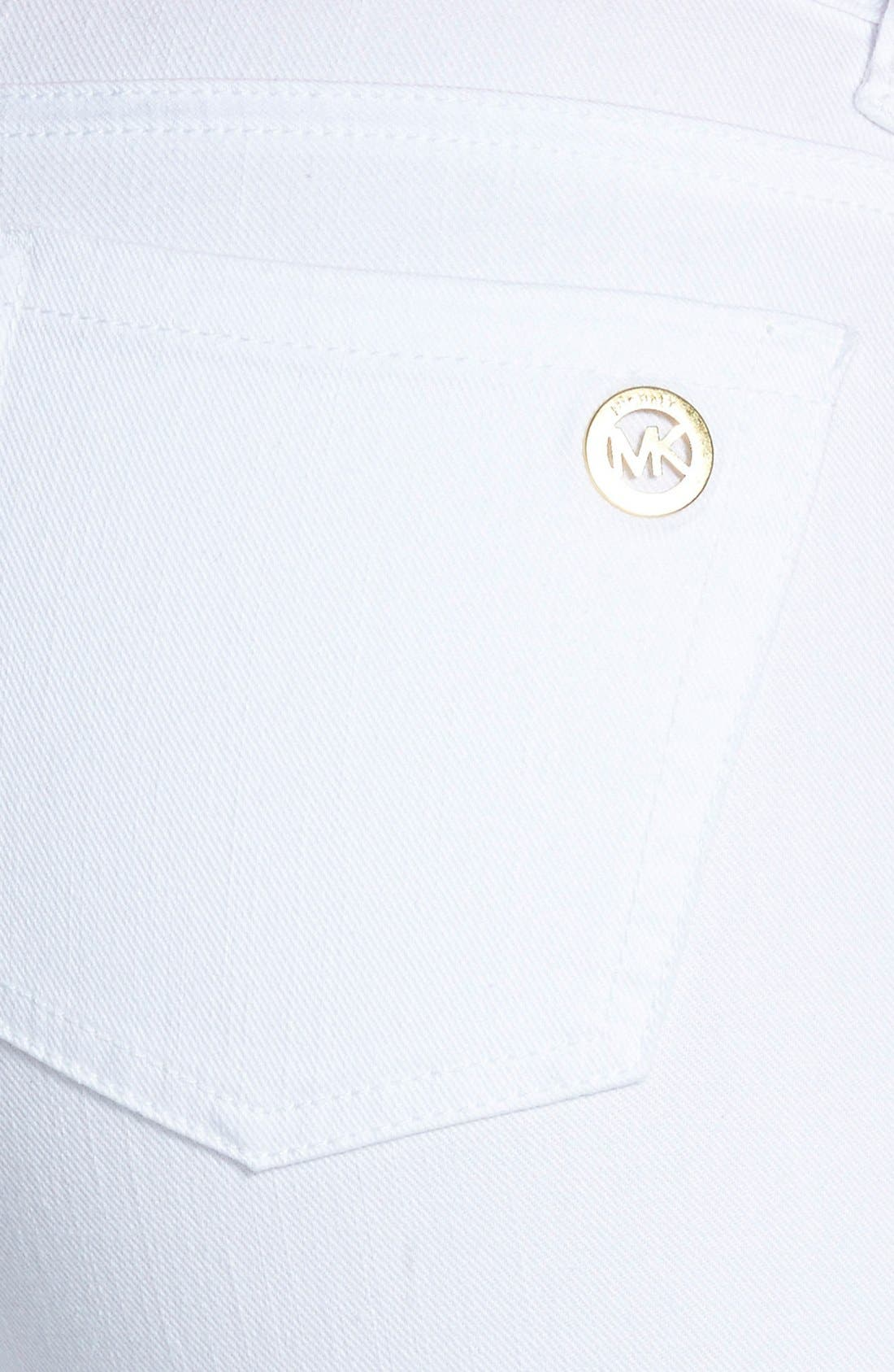 Alternate Image 3  - MICHAEL Michael Kors Eyelet Embroidered Stretch Crop Skinny Jeans (White)