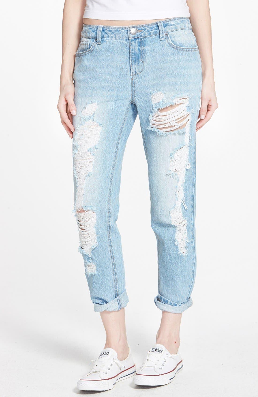 Alternate Image 1 Selected - Generra Boyfriend Jeans (Blue)