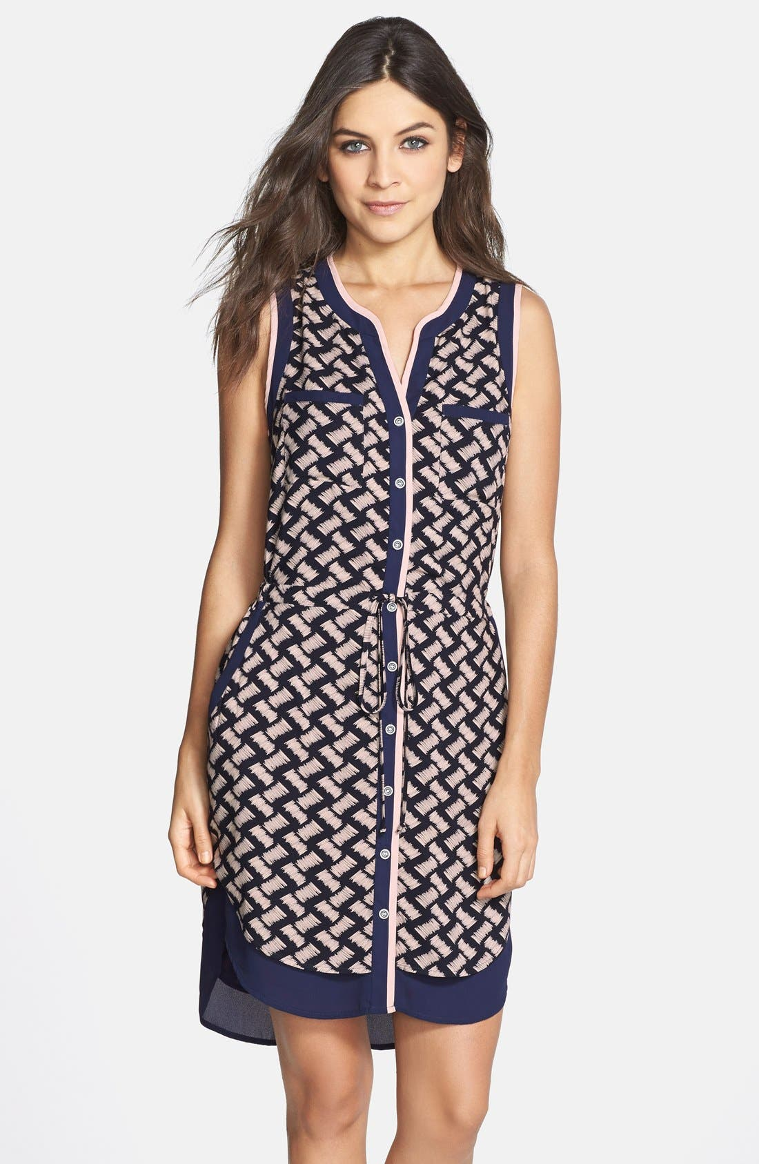 Main Image - GREYLIN 'Osten' Print Back Cutout Sleeveless Shirtdress