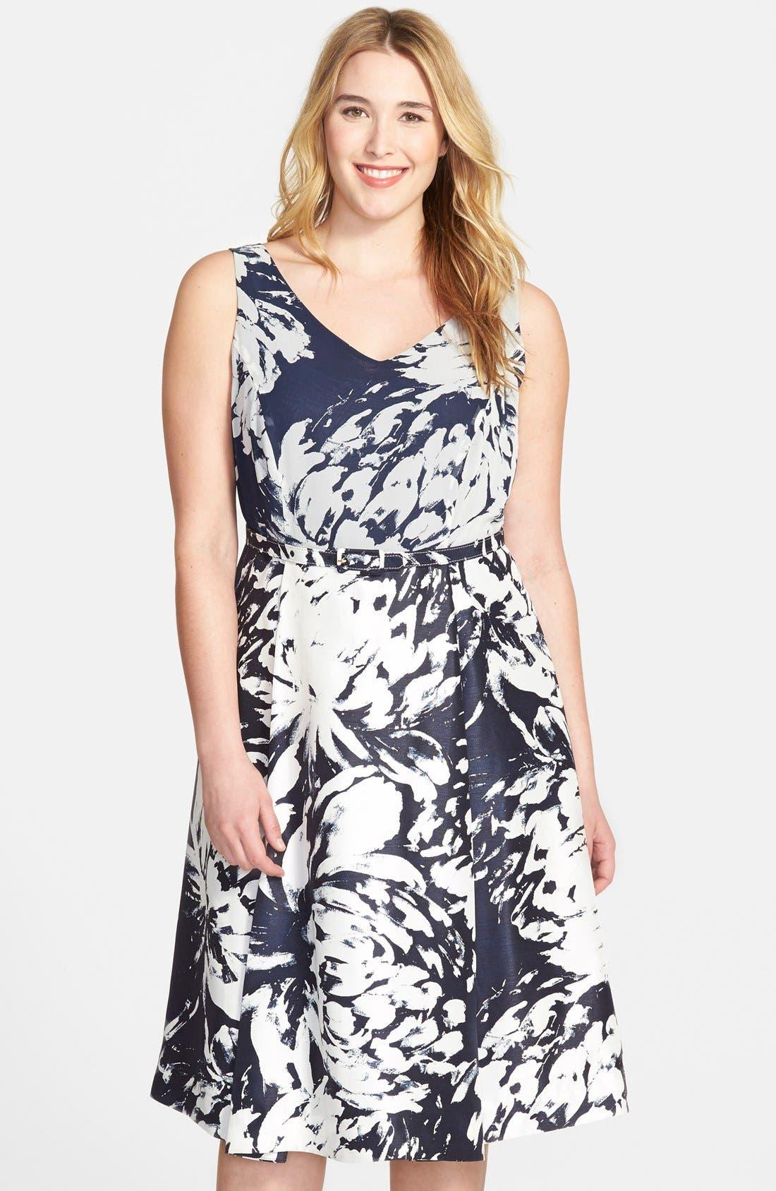 Main Image - Taylor Dresses Floral  V-Neck Fit & Flare Dress  (Plus Size)